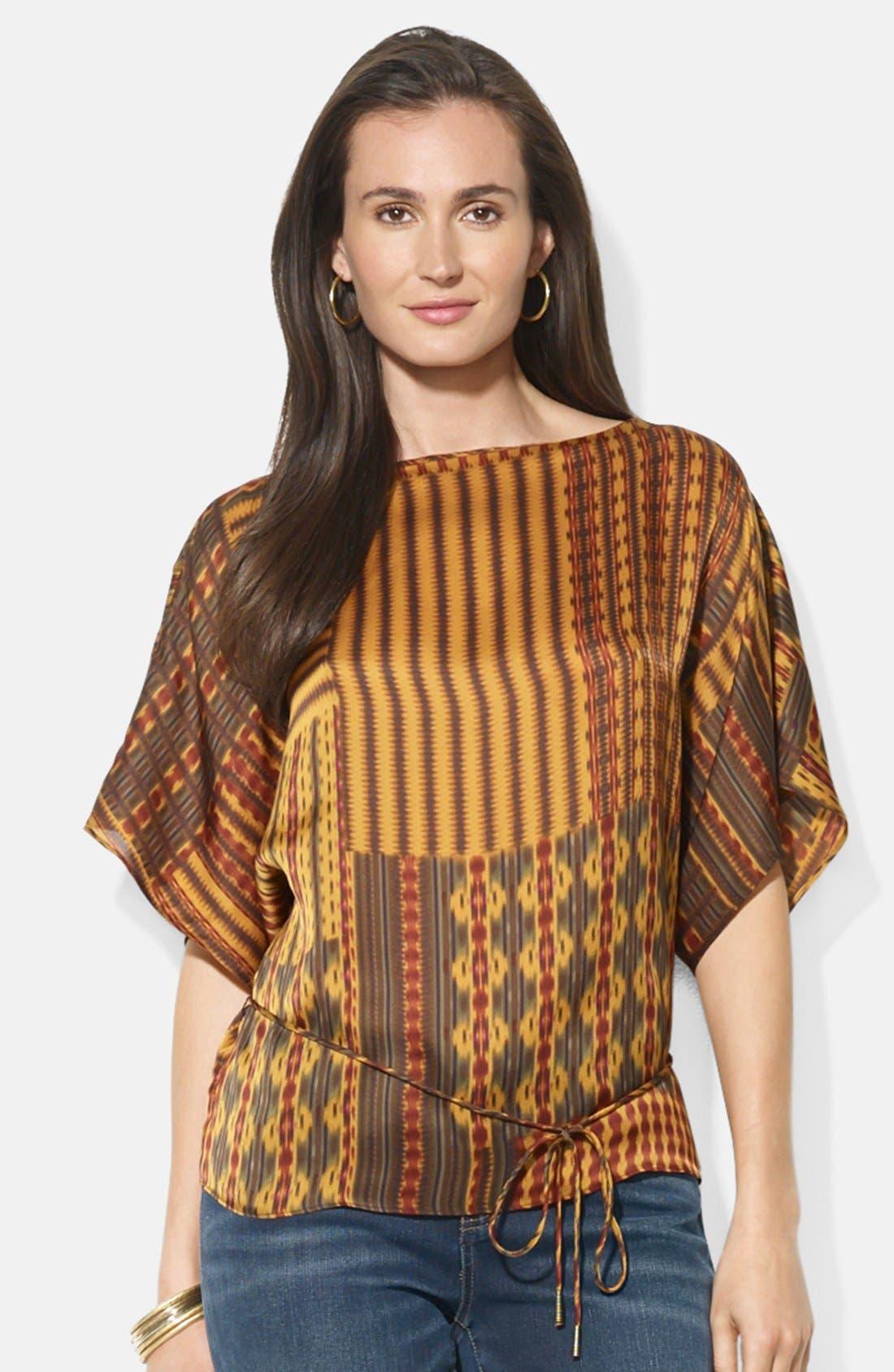 Alternate Image 1 Selected - Lauren Ralph Lauren Patchwork Print Kimono Sleeve Silk Top