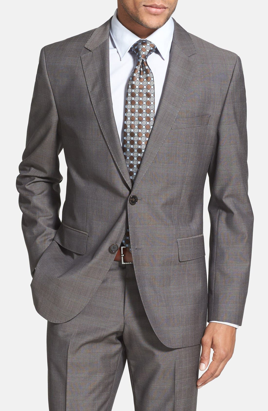 Alternate Image 3  - BOSS HUGO BOSS 'James/Sharp' Trim Fit Plaid Suit (Online Only)