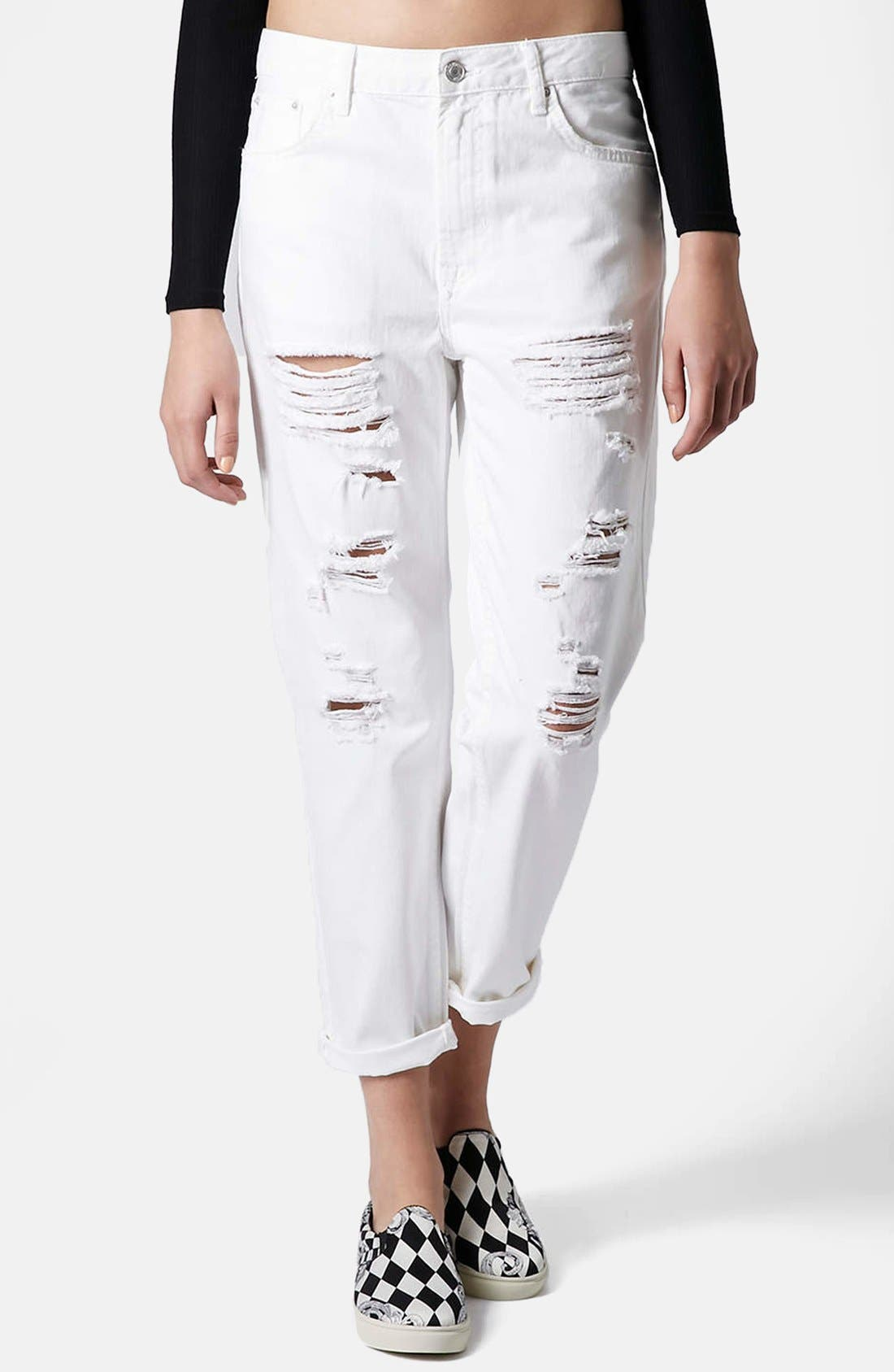 Alternate Image 1 Selected - Topshop Moto 'Hayden' Destroyed Boyfriend Jeans (White)