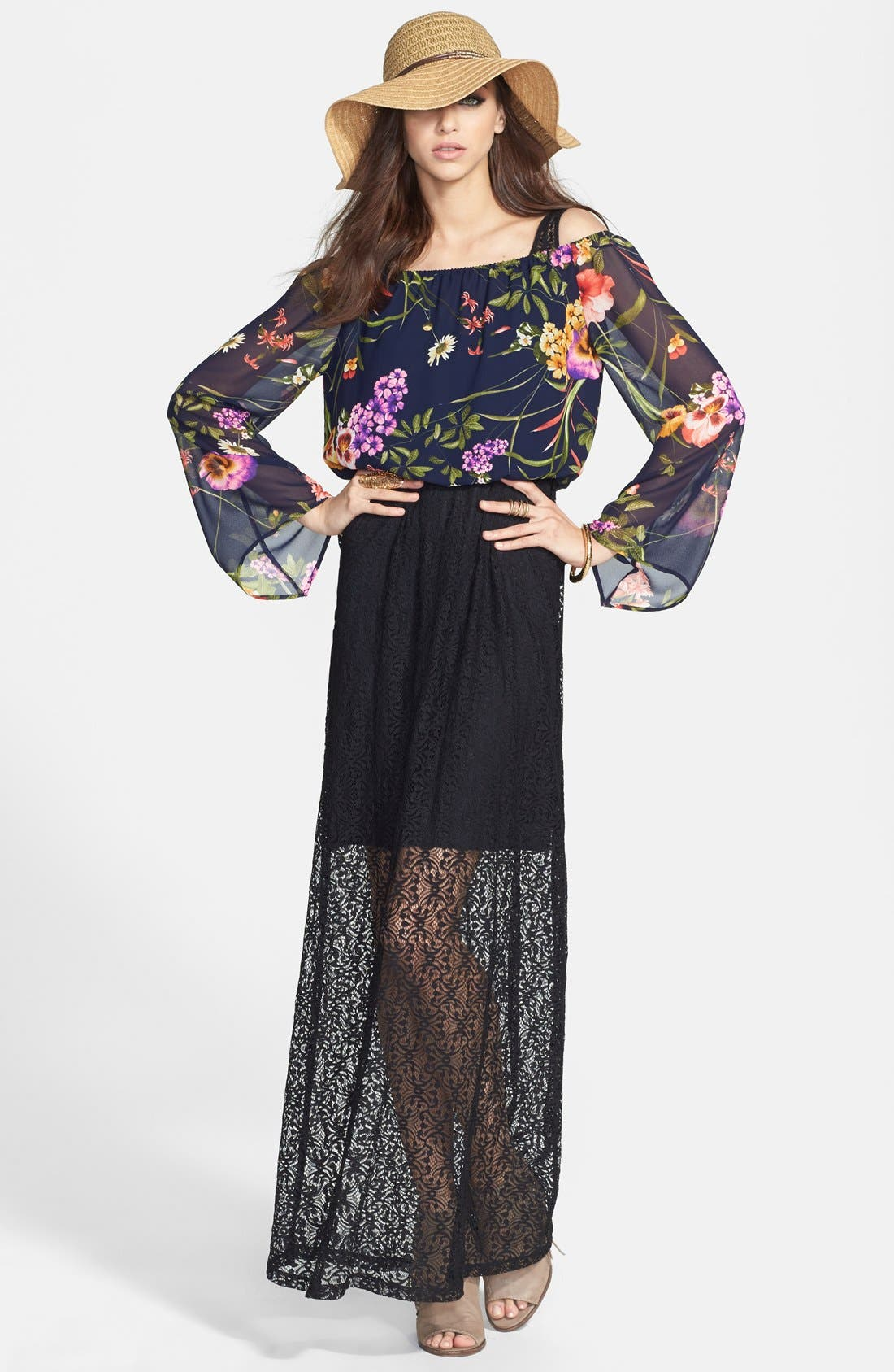 Alternate Image 4  - Tildon Floral Print Lace Maxi Dress