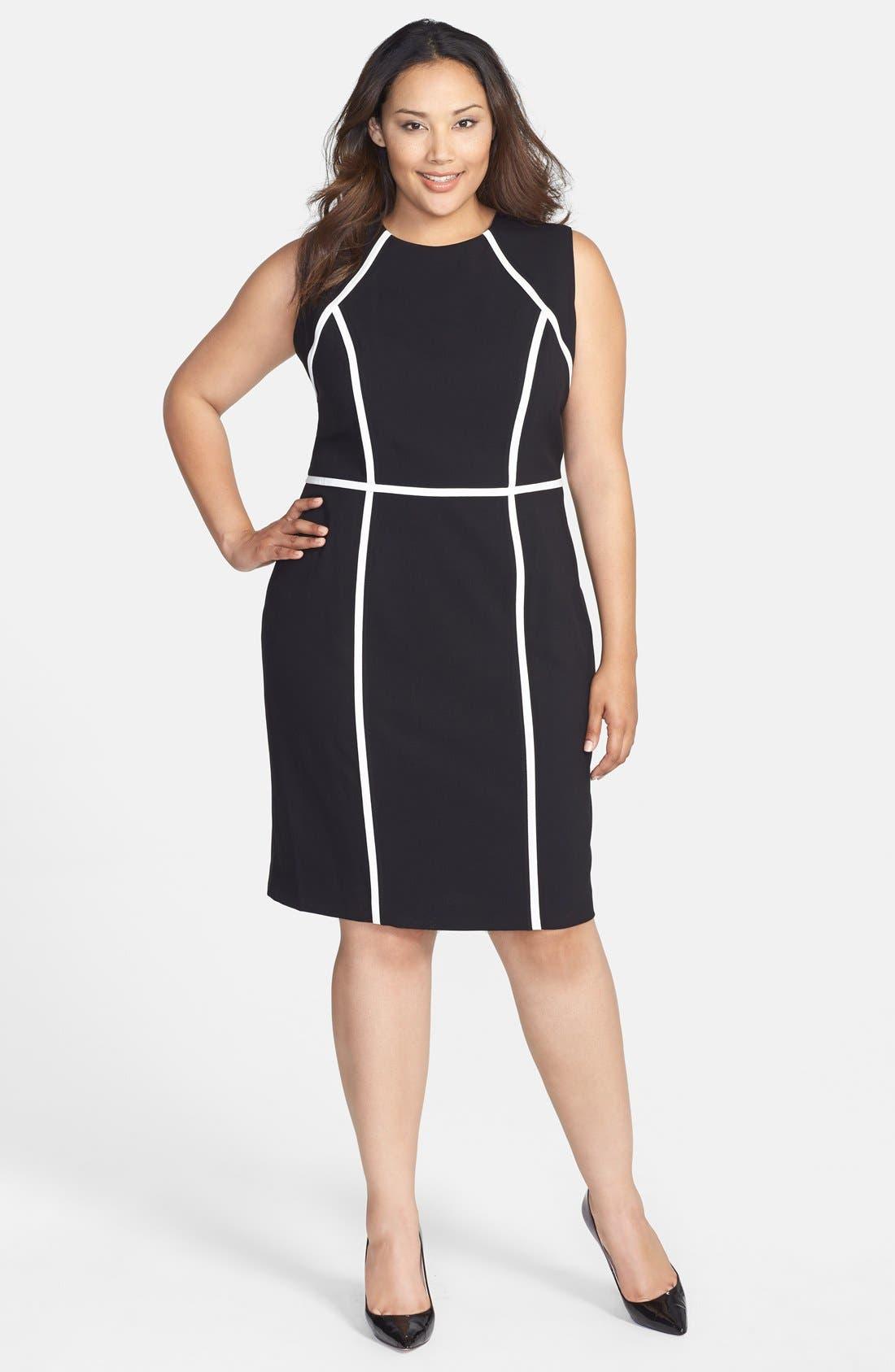 Alternate Image 1 Selected - Calvin Klein Contrast Detail Sheath Dress (Plus Size)