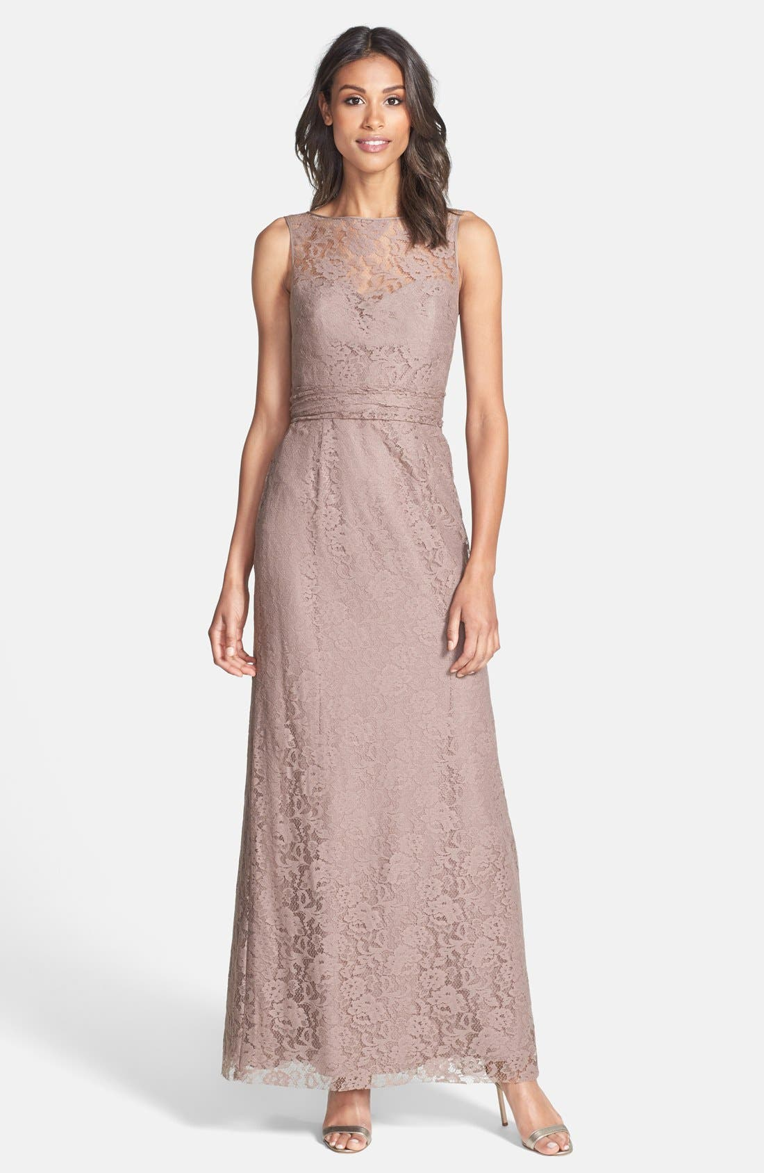 AMSALE Illusion Yoke Lace Gown in Truffle