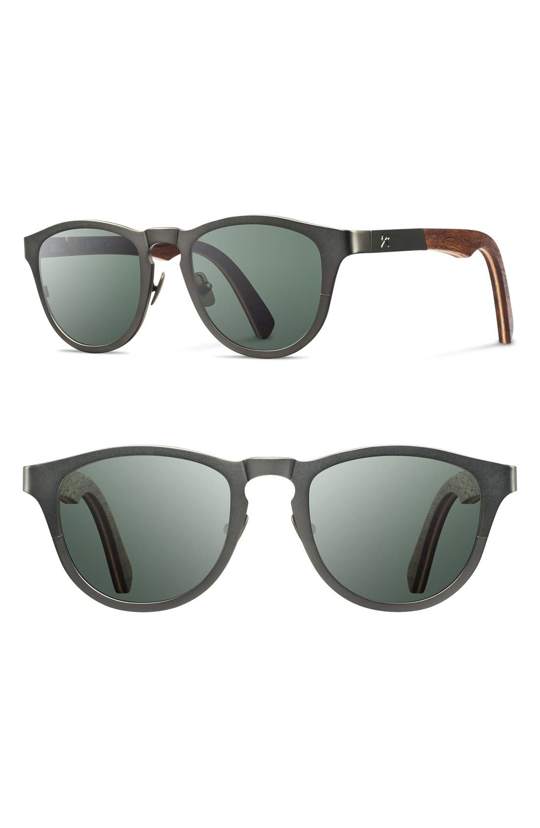 Alternate Image 1 Selected - Shwood 'Francis' 49mm Polarized Titanium & Wood Sunglasses