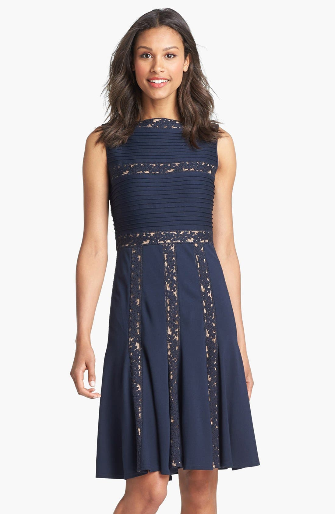 Main Image - Tadashi Shoji Lace Inset Jersey Fit & Flare Dress (Regular & Petite)