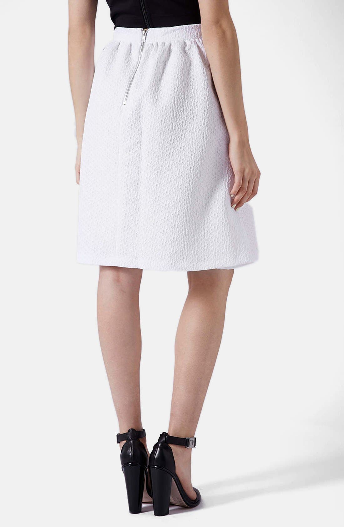 Alternate Image 2  - Topshop Daisy Jacquard Flare Skirt