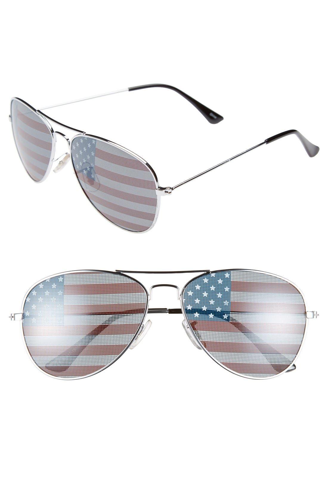 Main Image - Icon Eyewear 'Helen' American Flag 57mm Aviator Sunglasses (Juniors)