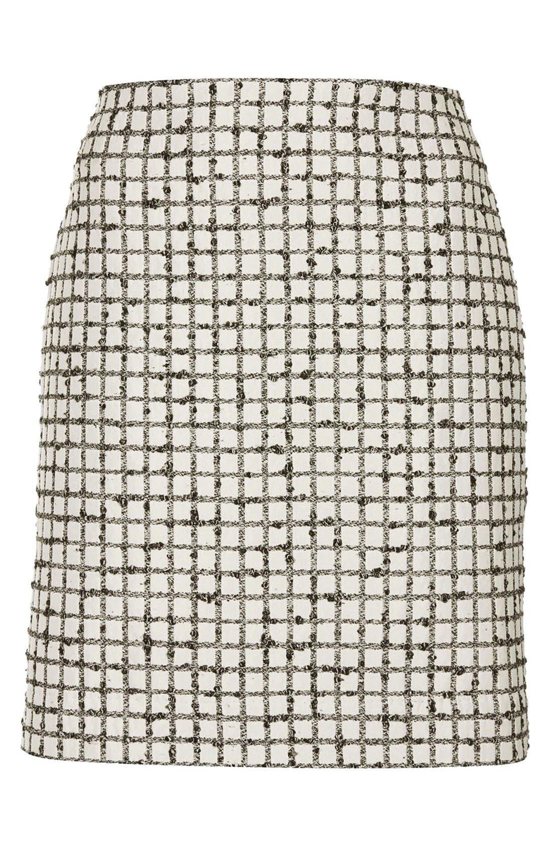 Alternate Image 3  - Topshop Boutique Textured Grid Pencil Skirt