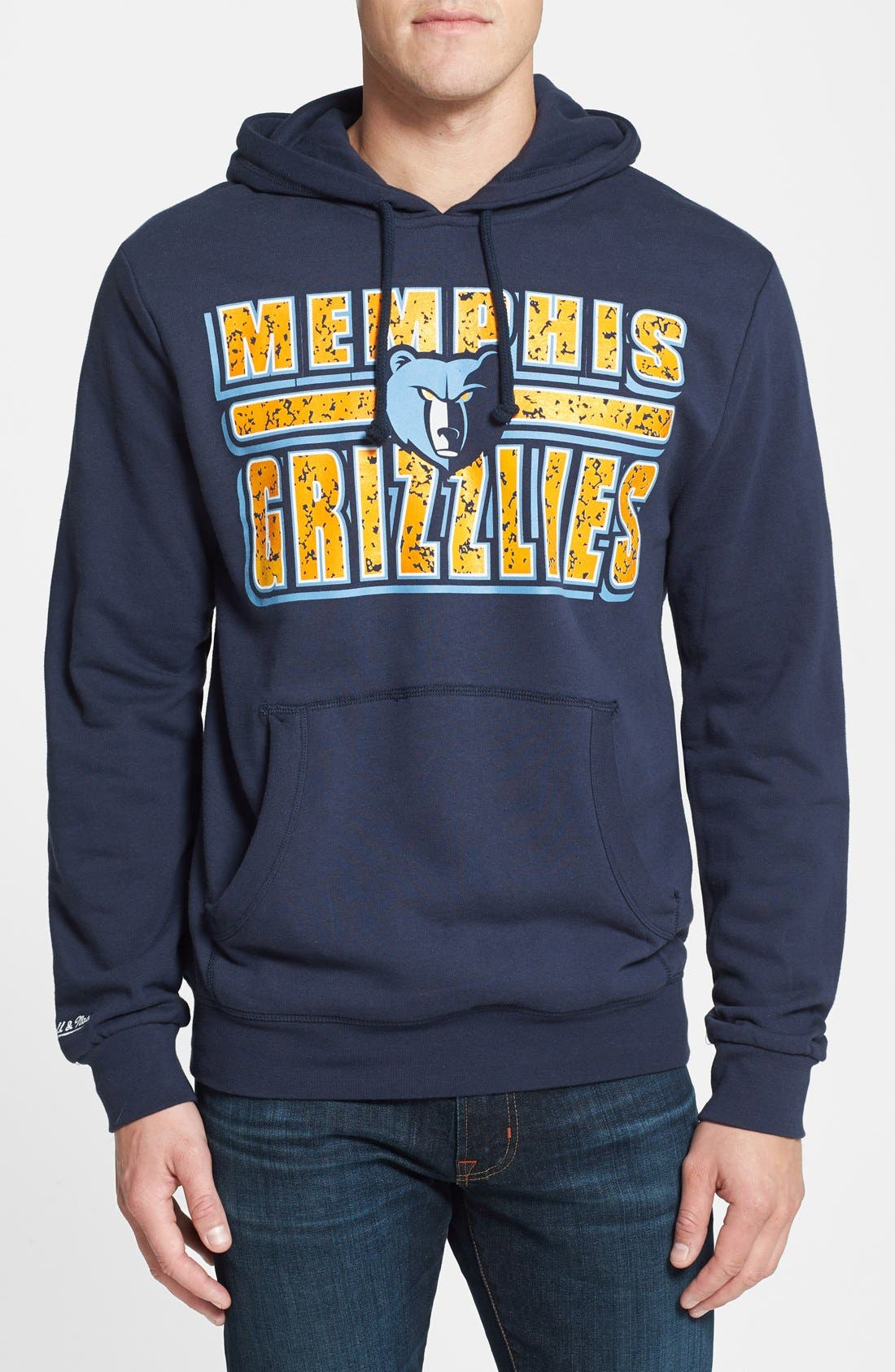 Main Image - Mitchell & Ness 'Memphis Grizzlies - Bold Block' Tailored Fit Hoodie