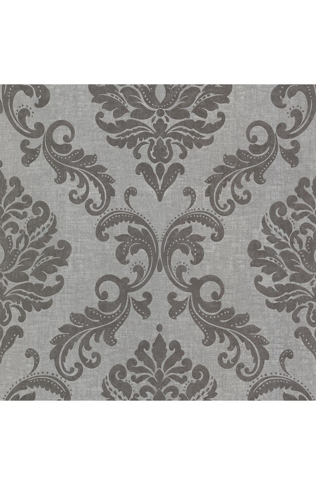 'Sebastion Damask' Unpasted Wallpaper,                             Main thumbnail 1, color,                             Grey