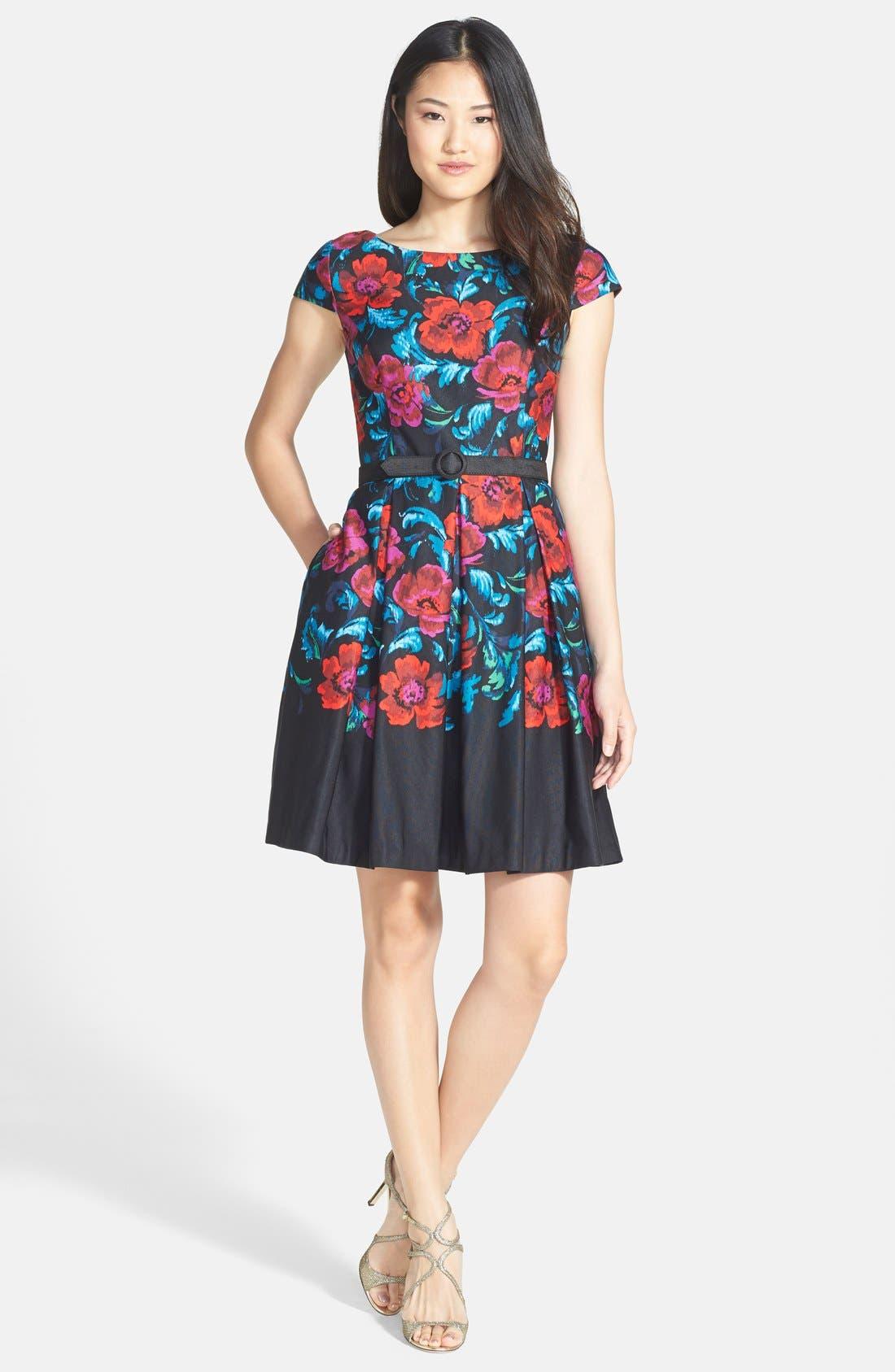 Alternate Image 3  - Eliza J Floral Print Pleat Fit & Flare Dress (Regular & Petite)