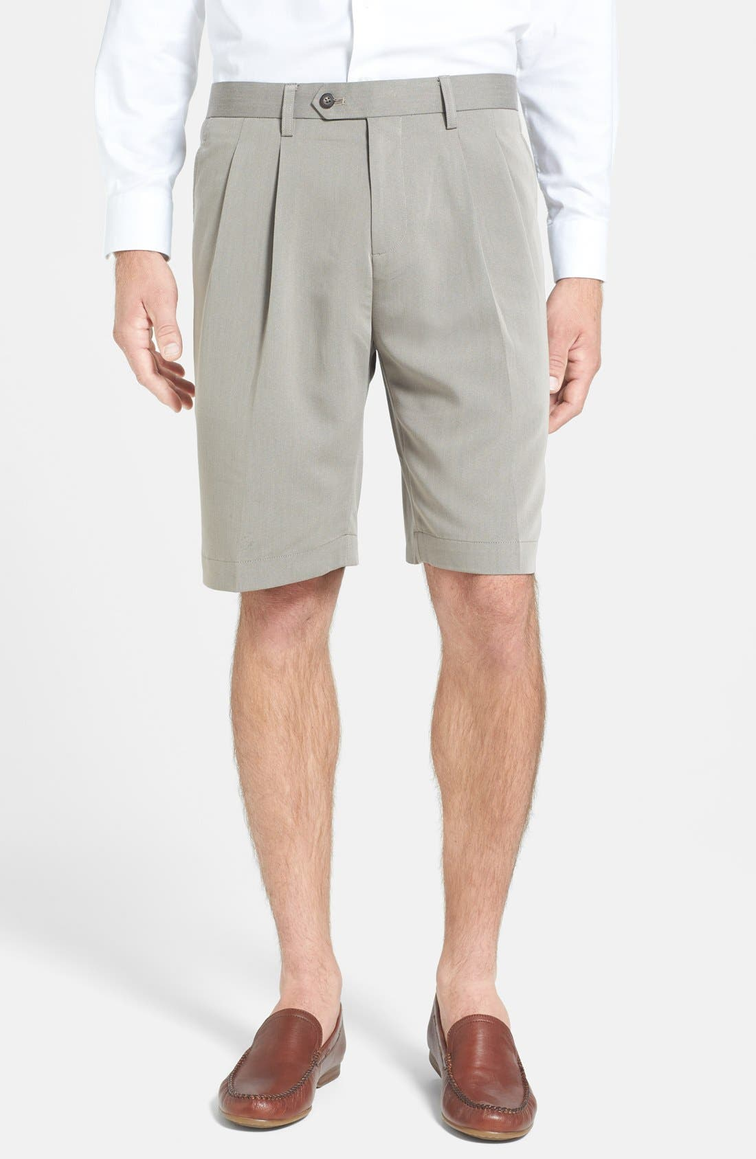 Double Pleated Microfiber Twill Shorts,                             Main thumbnail 1, color,                             Oyster Beige