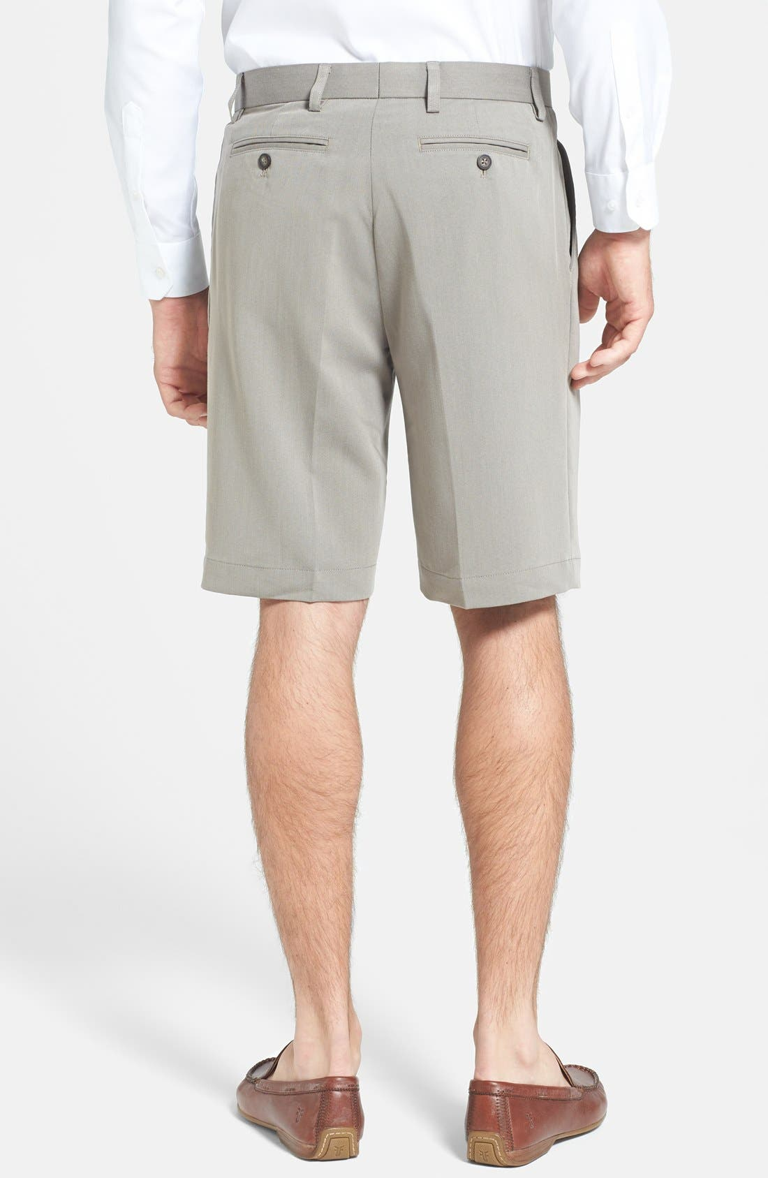 Double Pleated Microfiber Twill Shorts,                             Alternate thumbnail 2, color,                             Oyster Beige