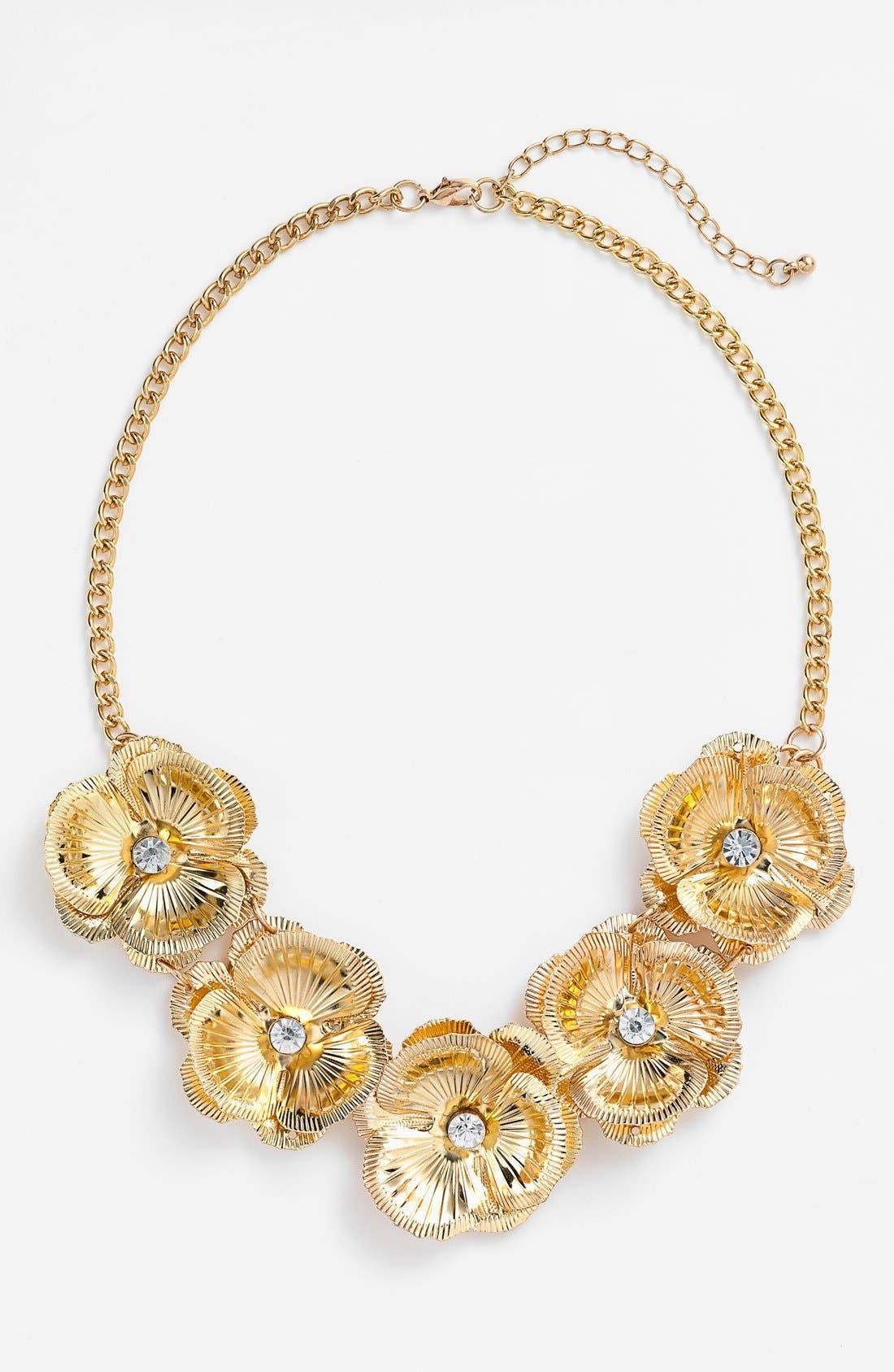 Floral Statement Necklace,                             Main thumbnail 1, color,                             Gold