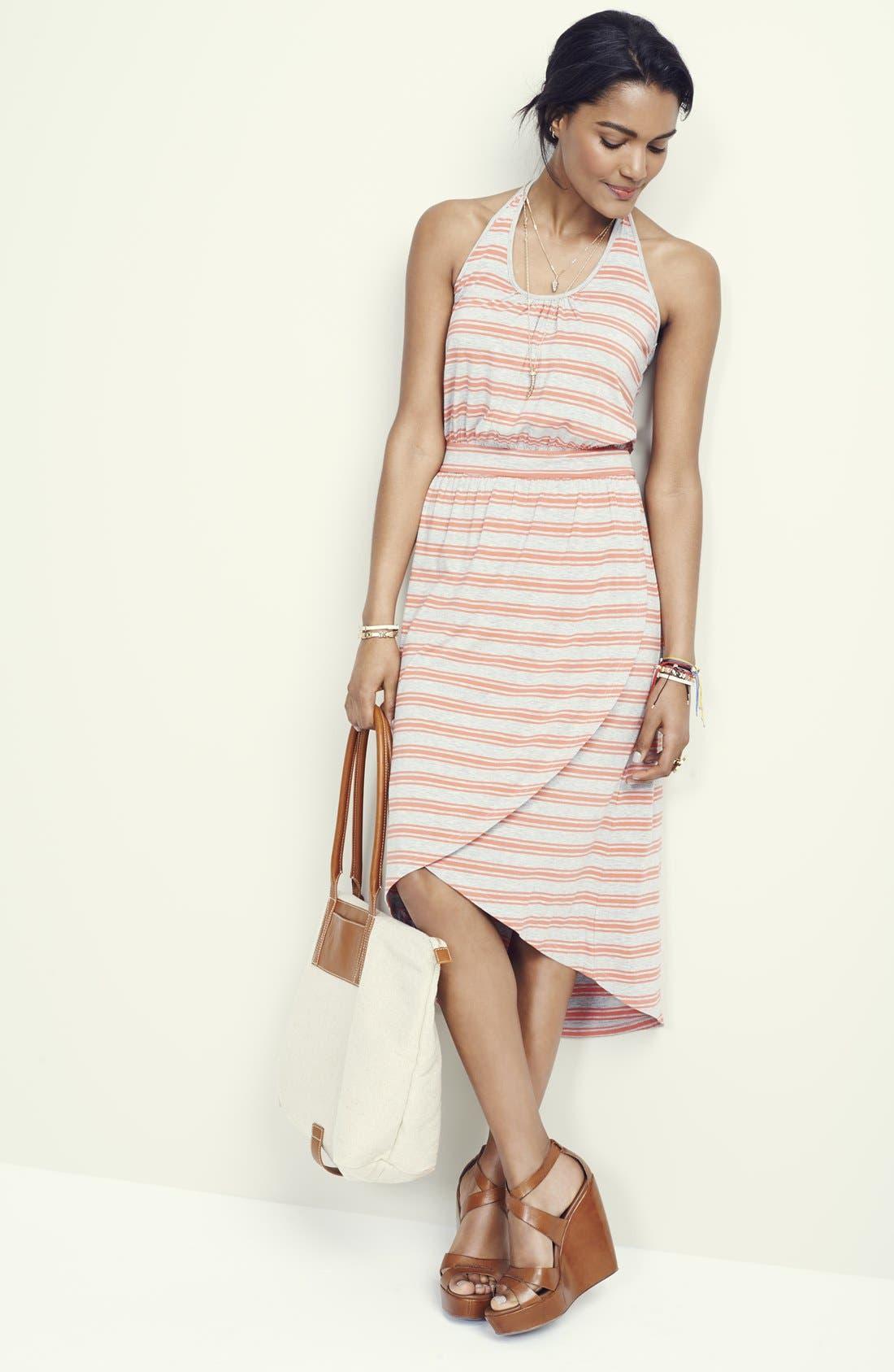Alternate Image 4  - Caslon® Midi Faux Wrap Halter Dress (Regular & Petite)