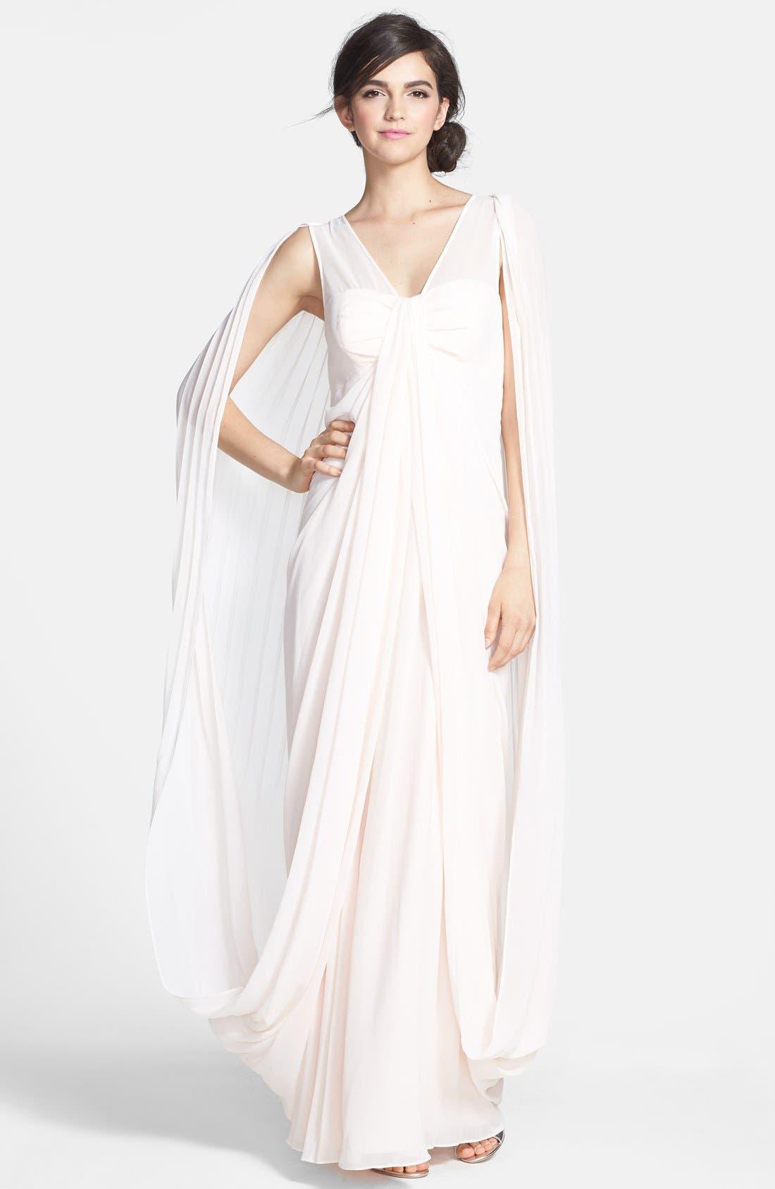 Main Image - Ted Baker London 'Lyonele' Cape Back Draped Chiffon Maxi Dress