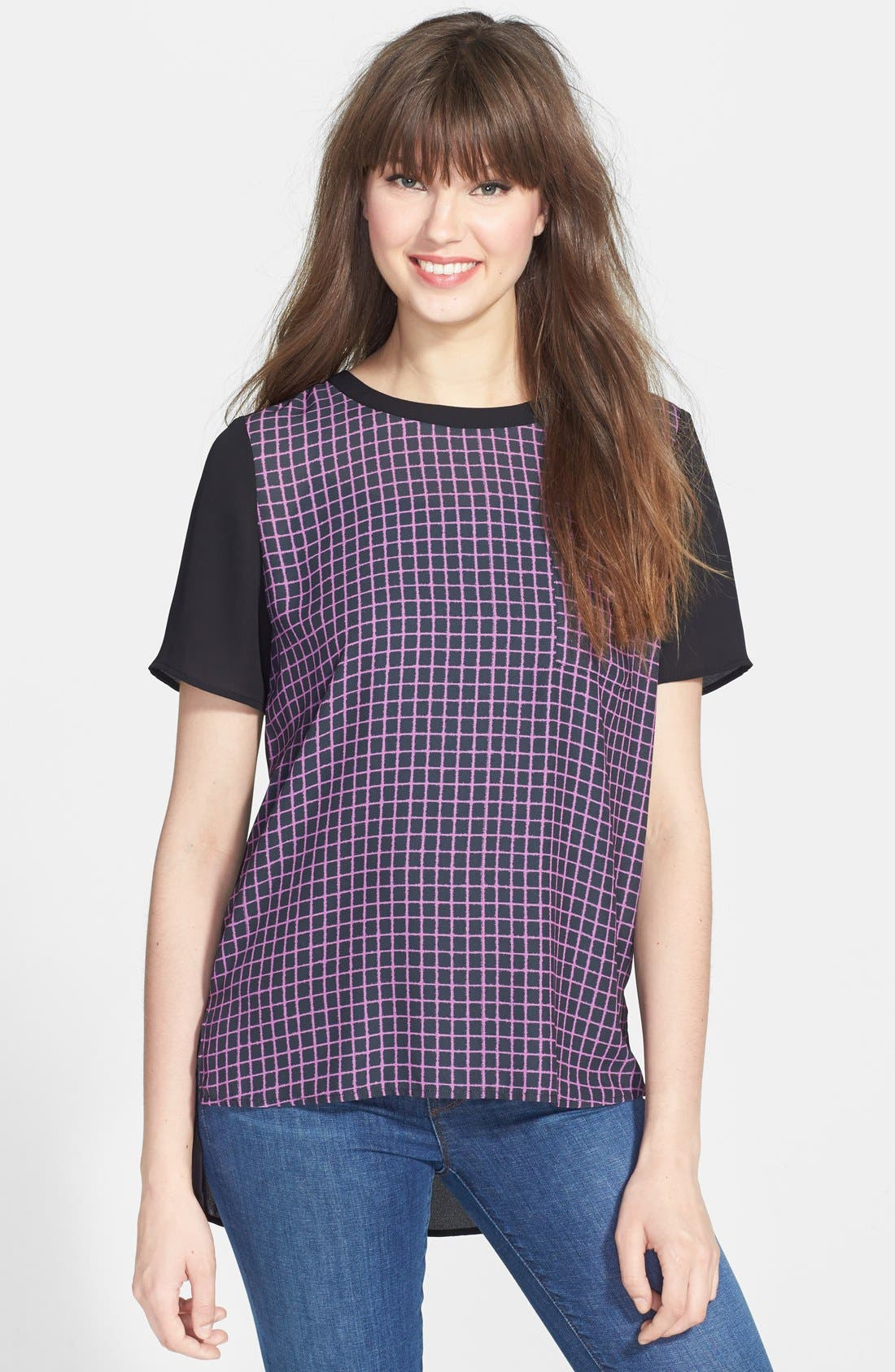 Alternate Image 1 Selected - Halogen® Print Front Woven High-Low Tee (Regular & Petite)