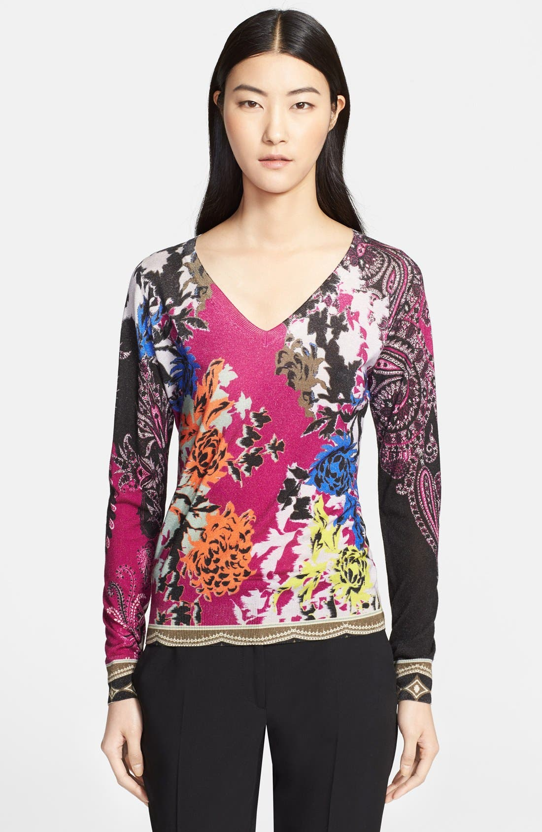 Alternate Image 2  - Etro Floral Print Silk & Cashmere Sweater