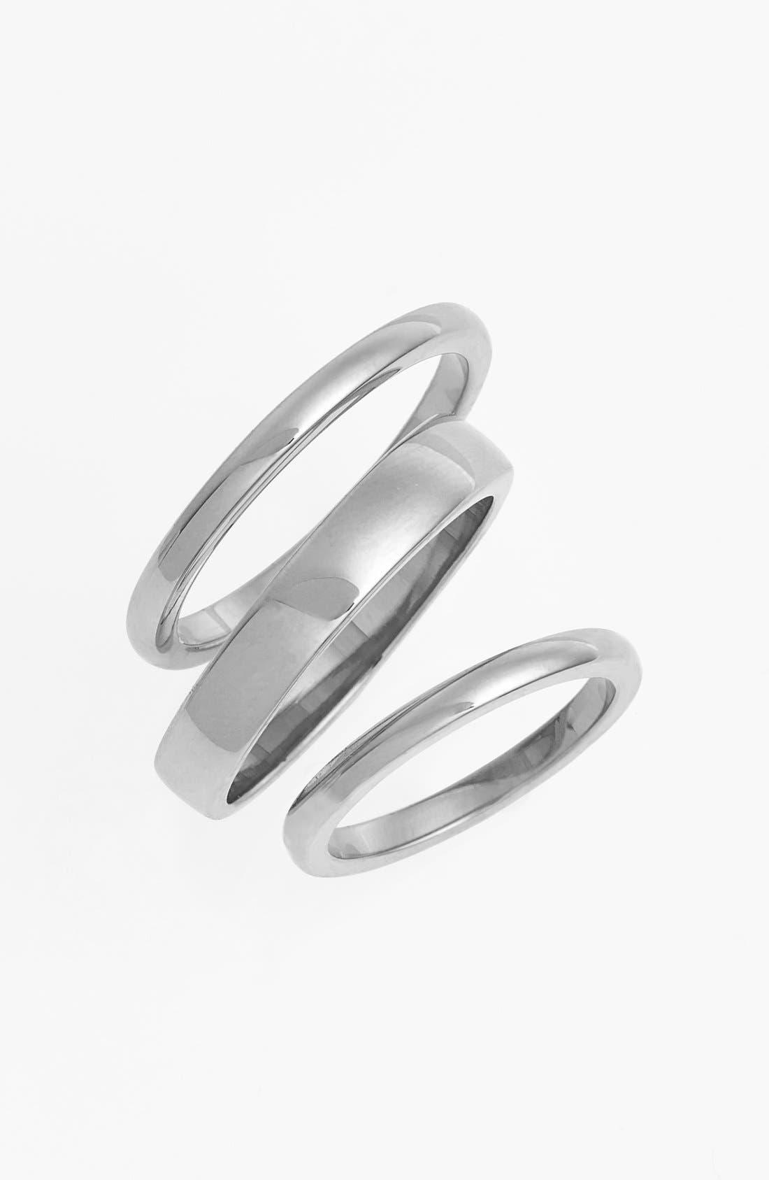 Main Image - Ariella Collection Band Rings & Midi Ring (Set of 3)