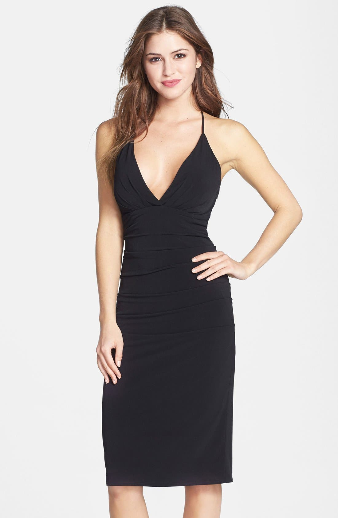 Alternate Image 1 Selected - Laundry by Shelli Segal Twist Back Halter Dress