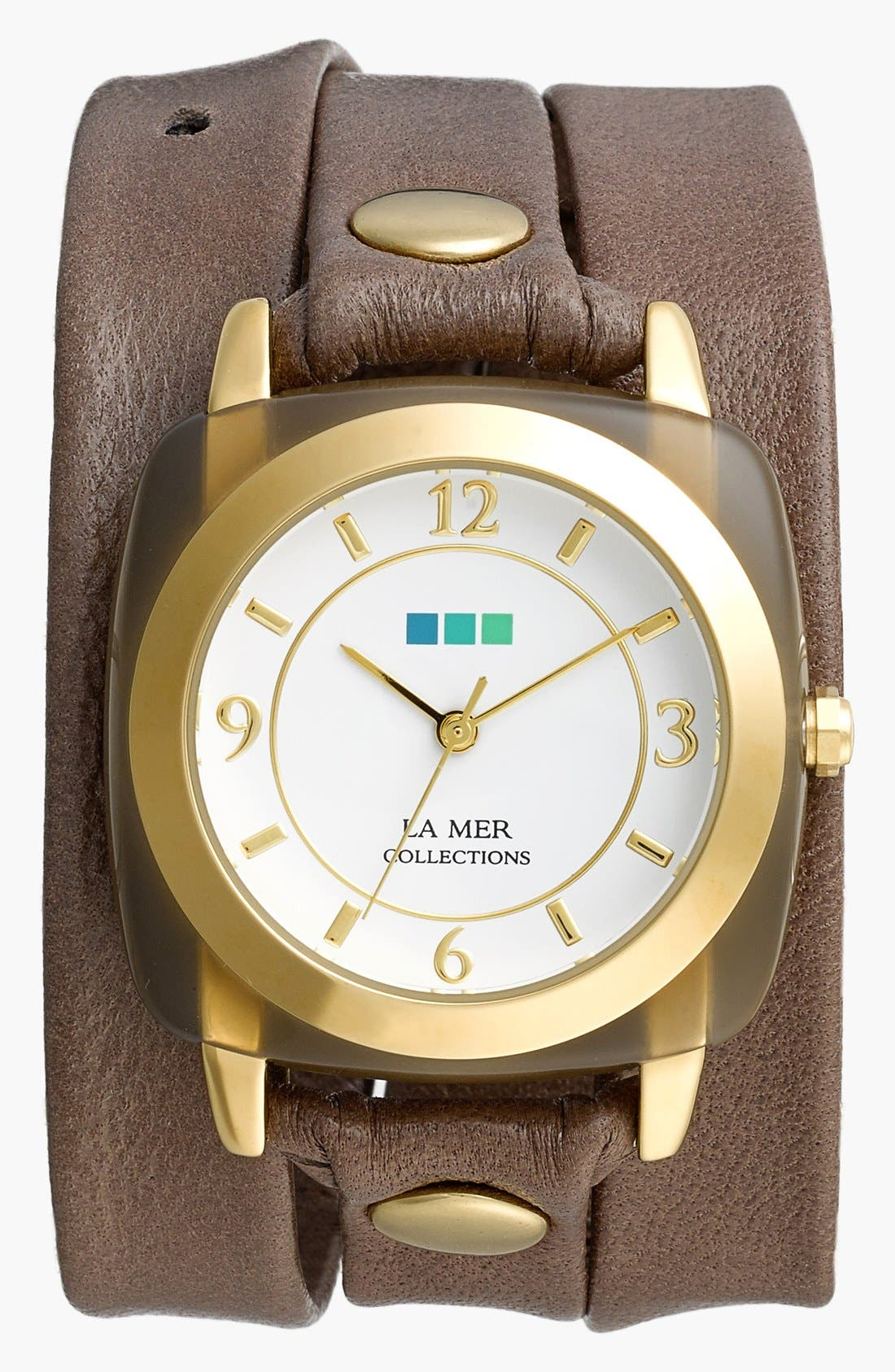 Alternate Image 1 Selected - La Mer Collections 'Smokey Quartz' Leather Wrap Bracelet Watch, 42mm x 40mm