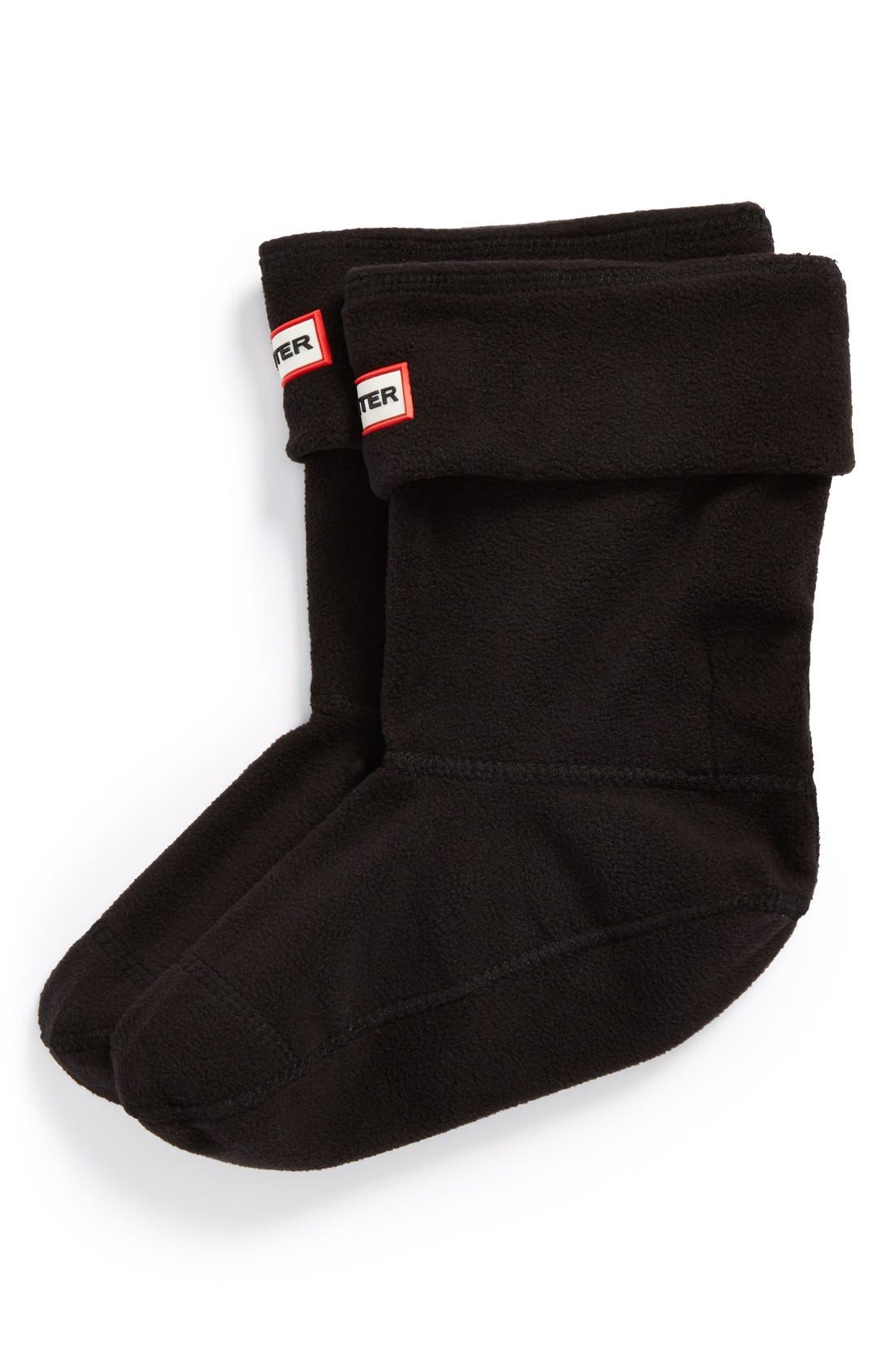Short Fleece Welly Boot Socks,                             Main thumbnail 1, color,                             Black Fleece