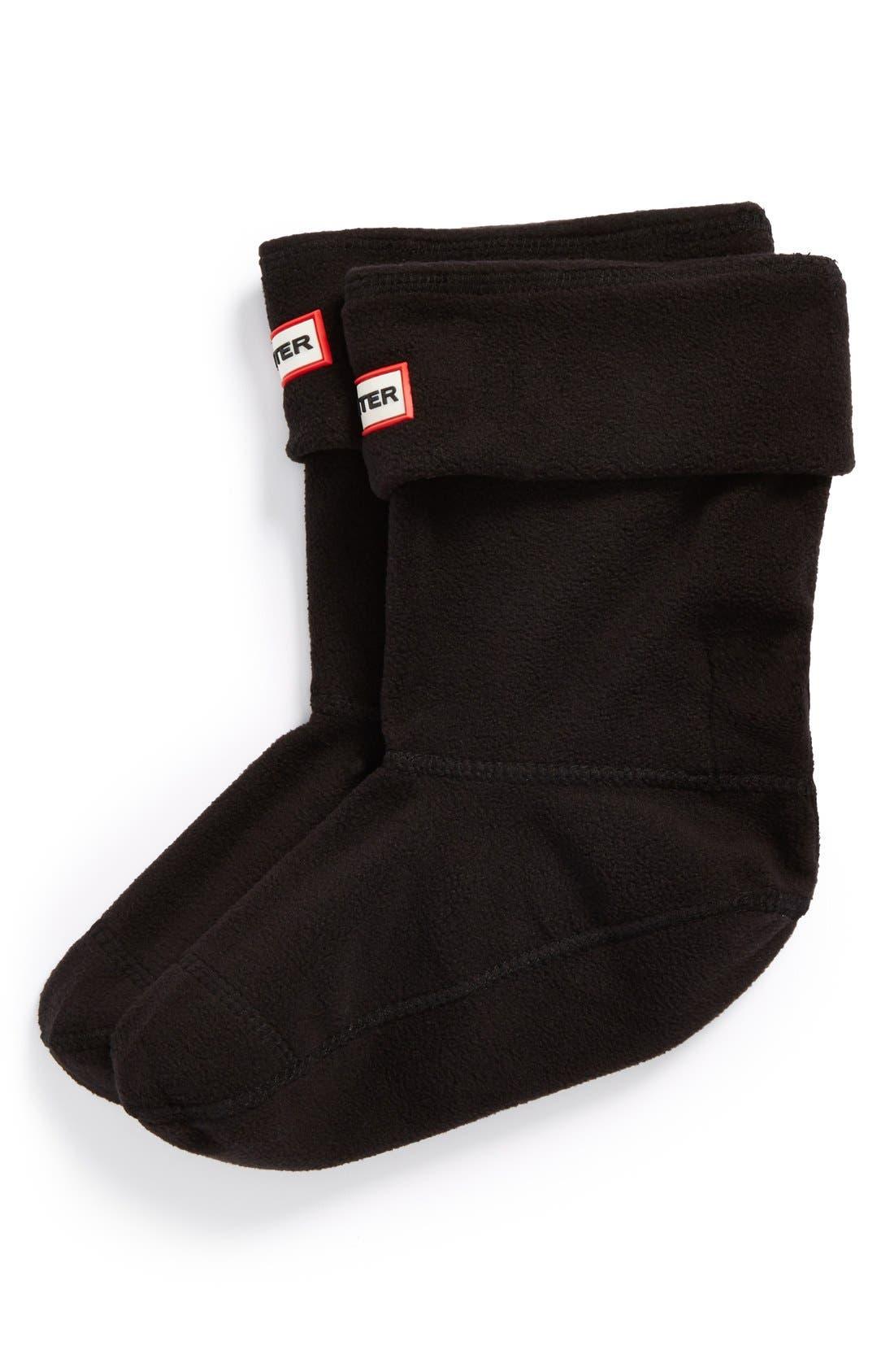 Short Fleece Welly Boot Socks,                         Main,                         color, Black Fleece