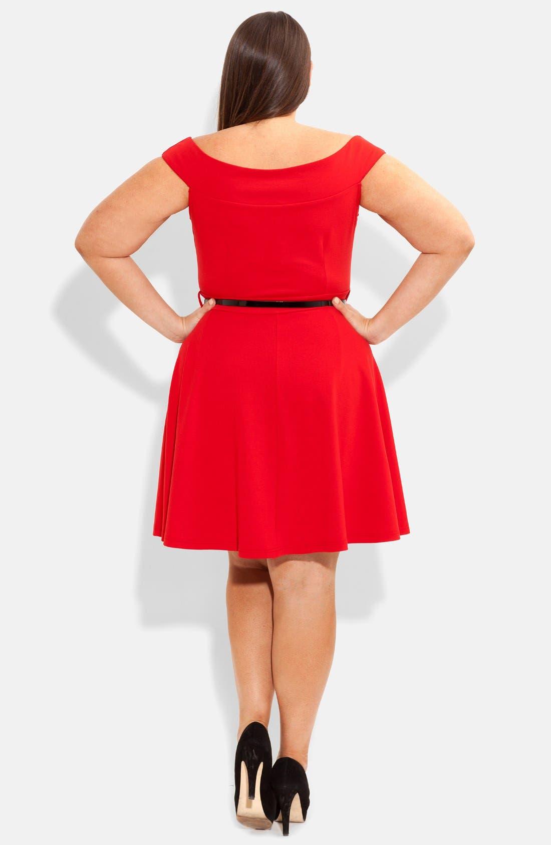 Alternate Image 2  - City Chic 'Bridgette' Belted Skater Dress (Plus Size)