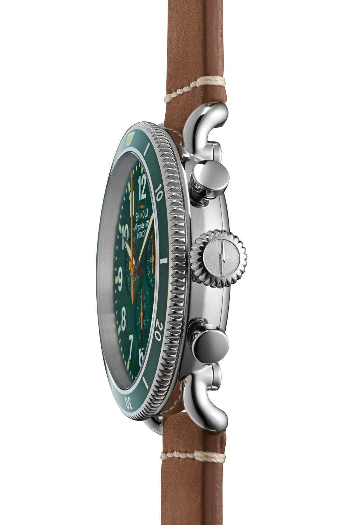 'The Runwell' Chronograph Leather Strap Watch, 48mm,                             Alternate thumbnail 3, color,                             Tan/ Green