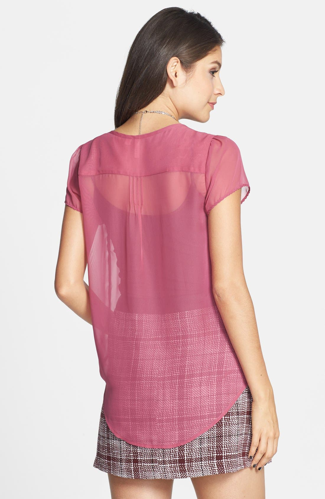 Alternate Image 2  - Frenchi® Lace Trim Pintuck Pleat Top (Juniors)