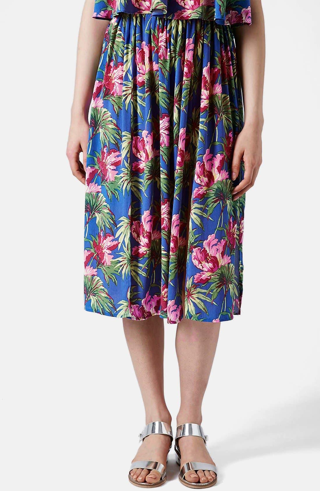 Main Image - Topshop Hibiscus Print Midi Skirt (Petite)