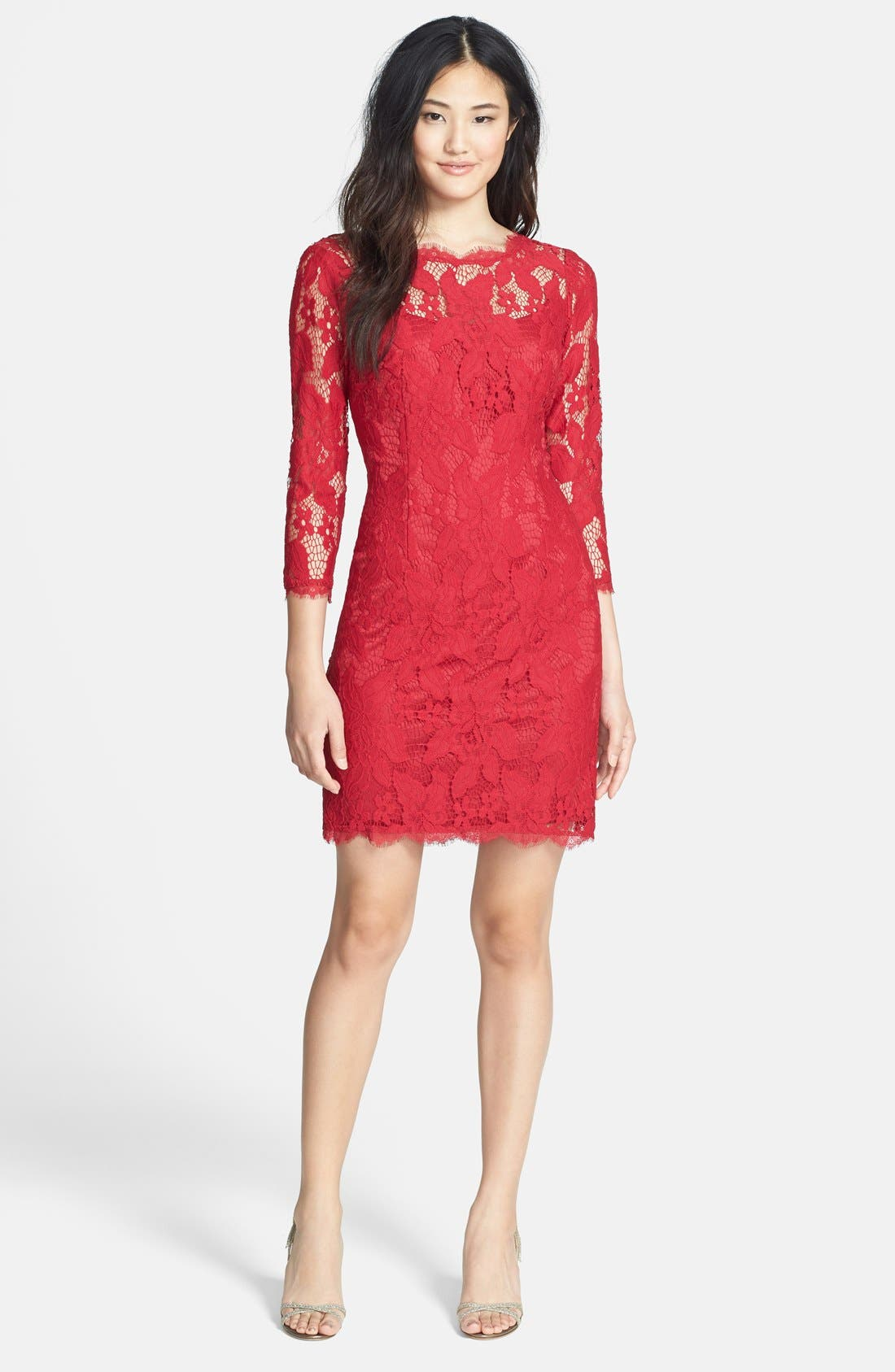 Alternate Image 3  - Adrianna Papell Long Sleeve Lace Cocktail Dress