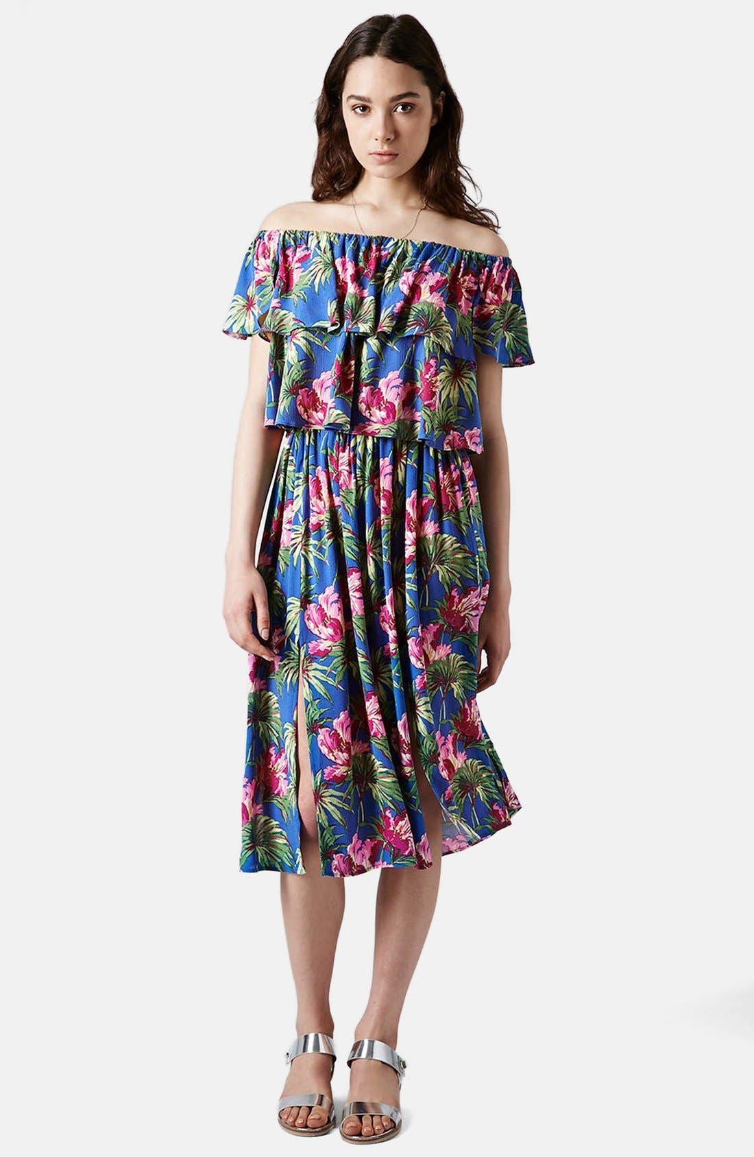 Alternate Image 4  - Topshop Hibiscus Print Midi Skirt (Petite)