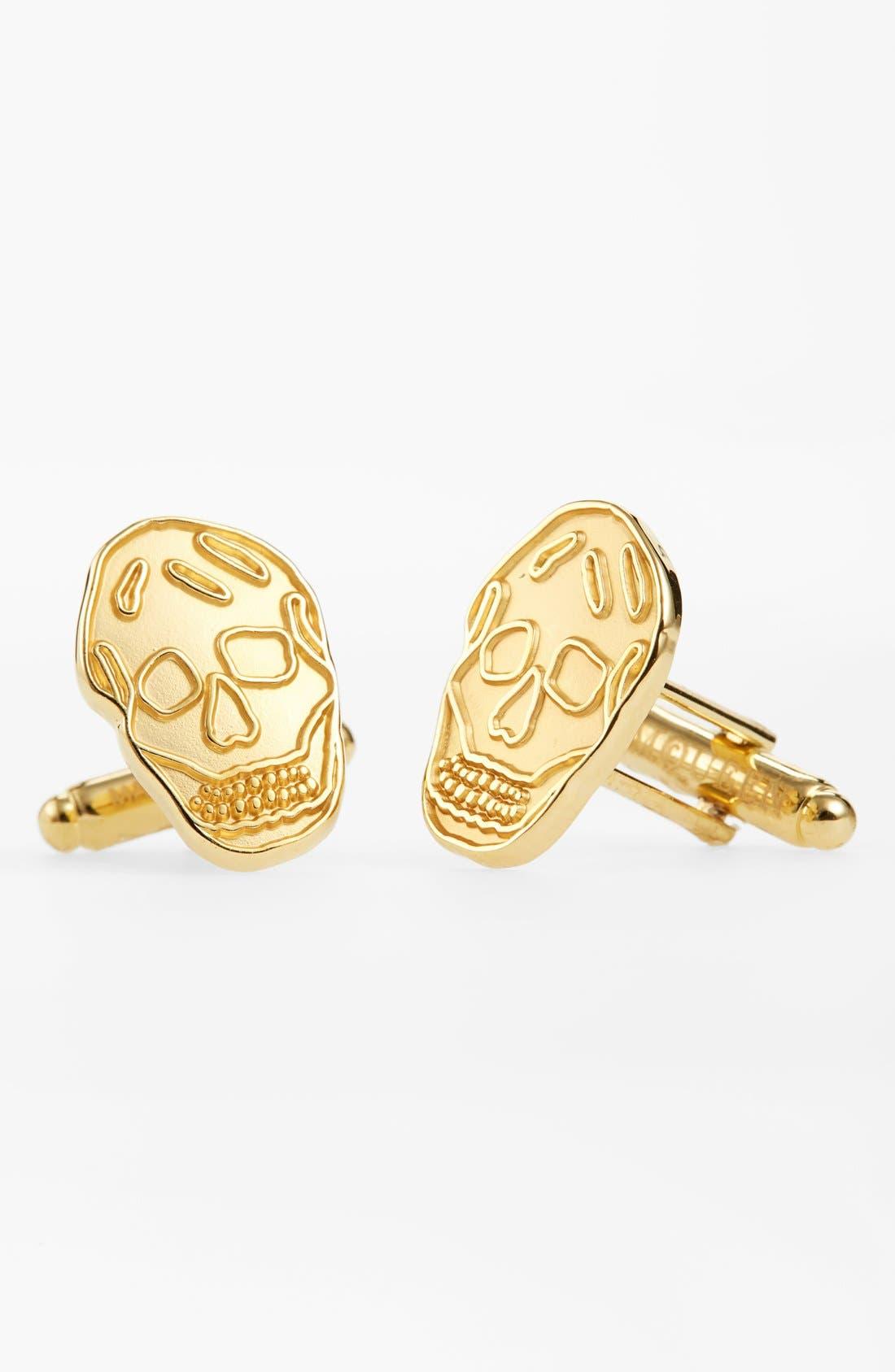 Brass Skull Cuff Links,                         Main,                         color, Gold