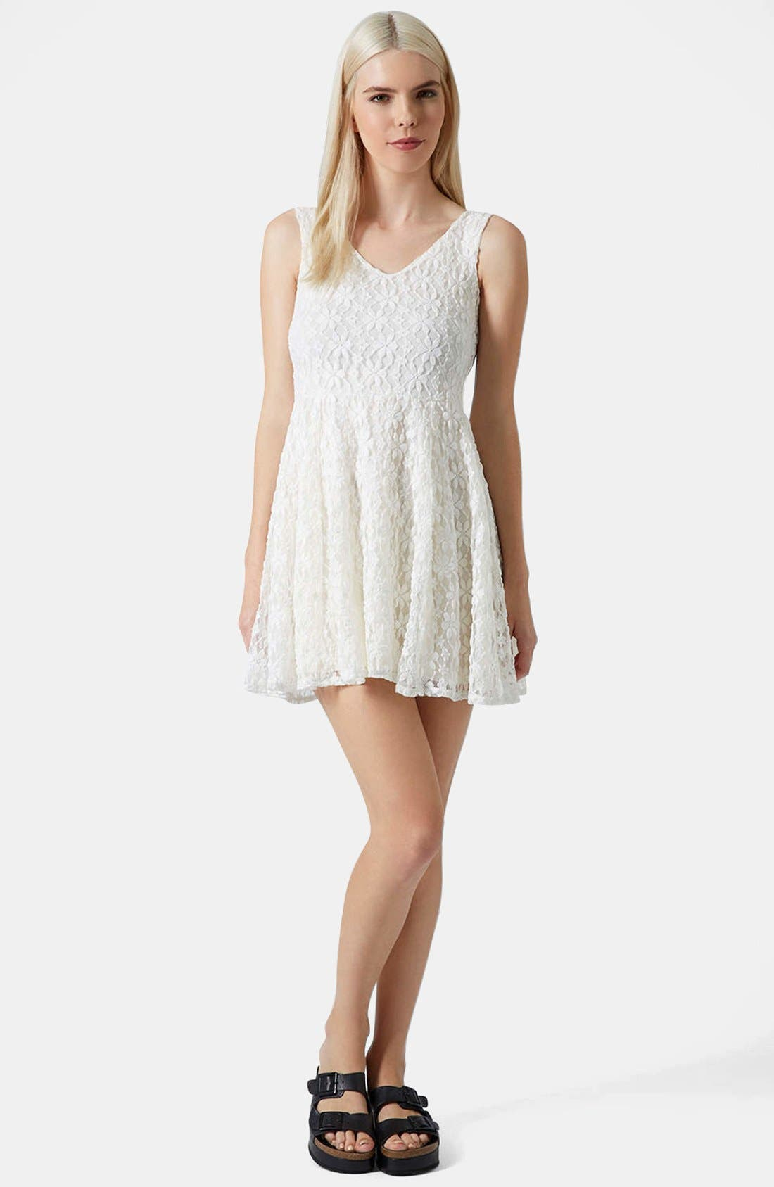 Alternate Image 5  - Topshop Daisy Lace Skater Dress