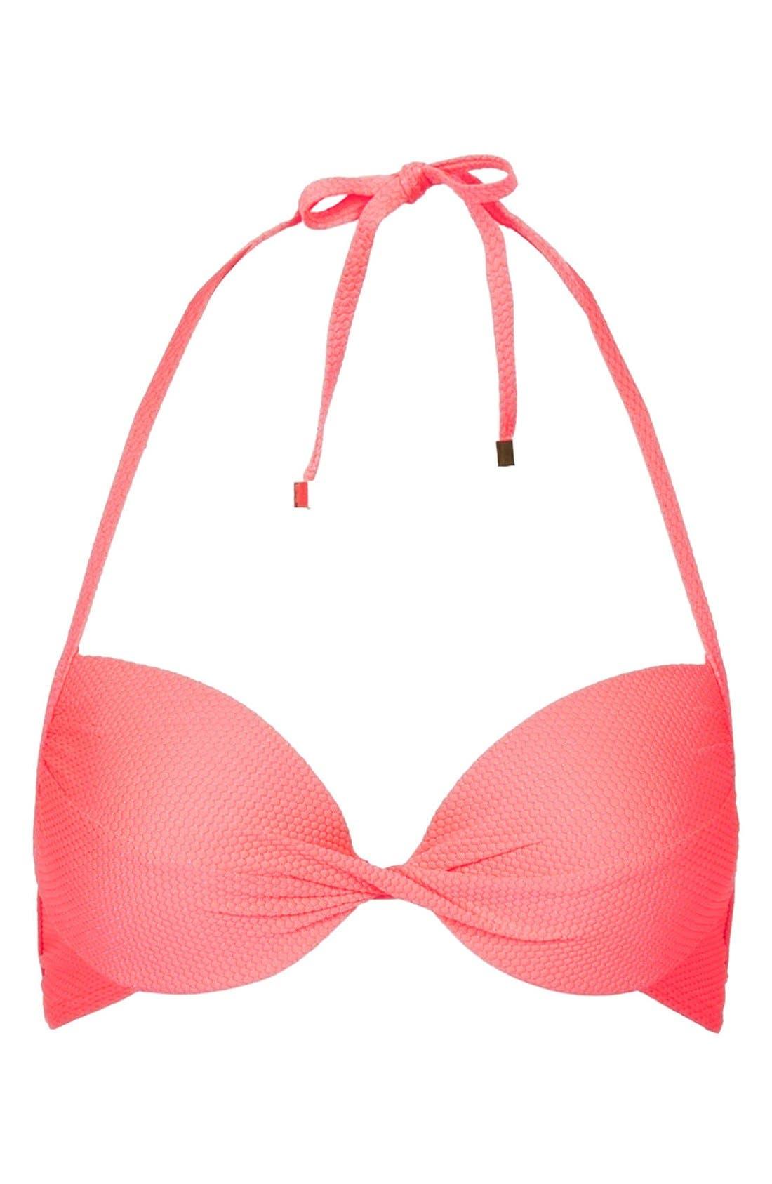 Alternate Image 1 Selected - Topshop Textured Plunge Bikini Top
