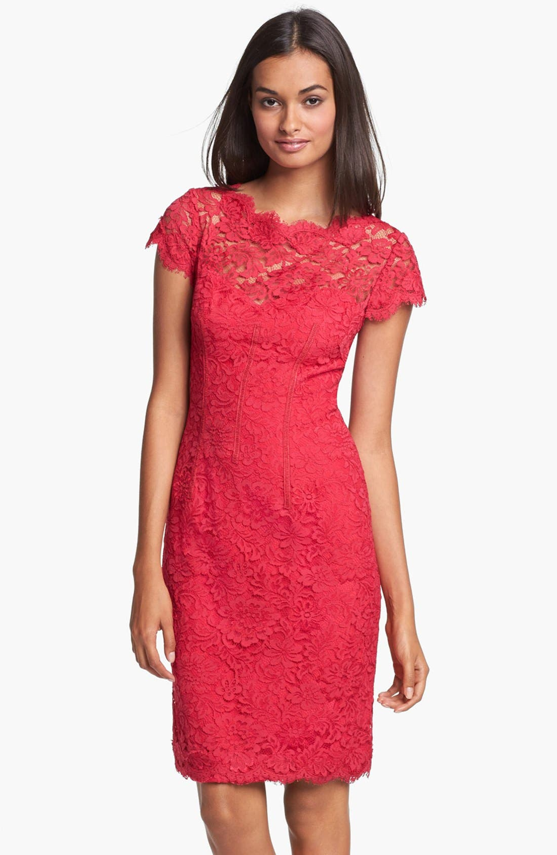Alternate Image 1 Selected - ML Monique Lhuillier Lace Overlay Sheath Dress