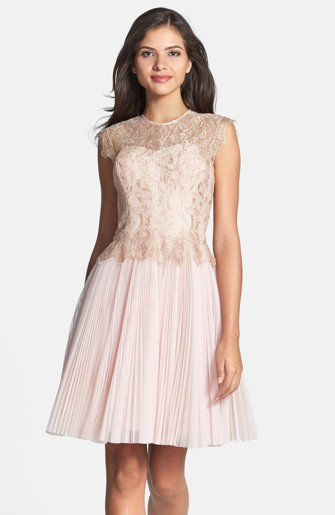 'Remma' Metallic Lace Overlay Fit & Flare Dress,                         Main,                         color, Nude Pink