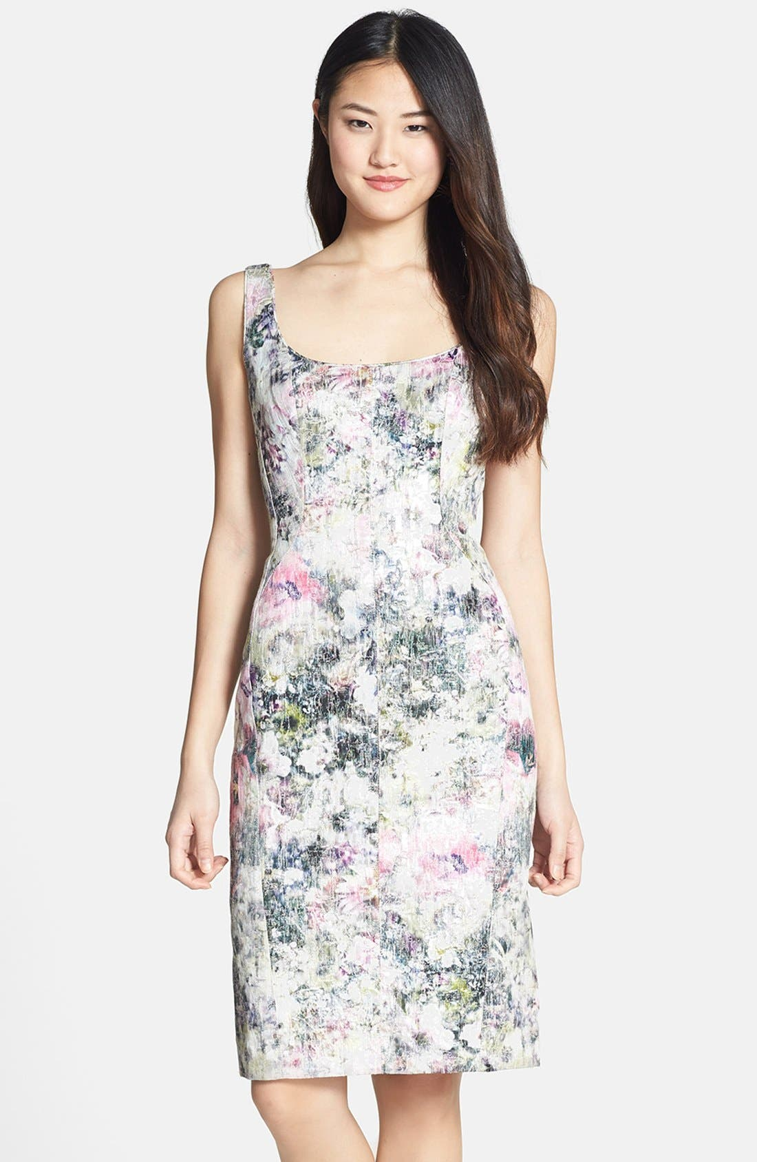Alternate Image 1 Selected - Maggy London Print Brocade Sheath Dress
