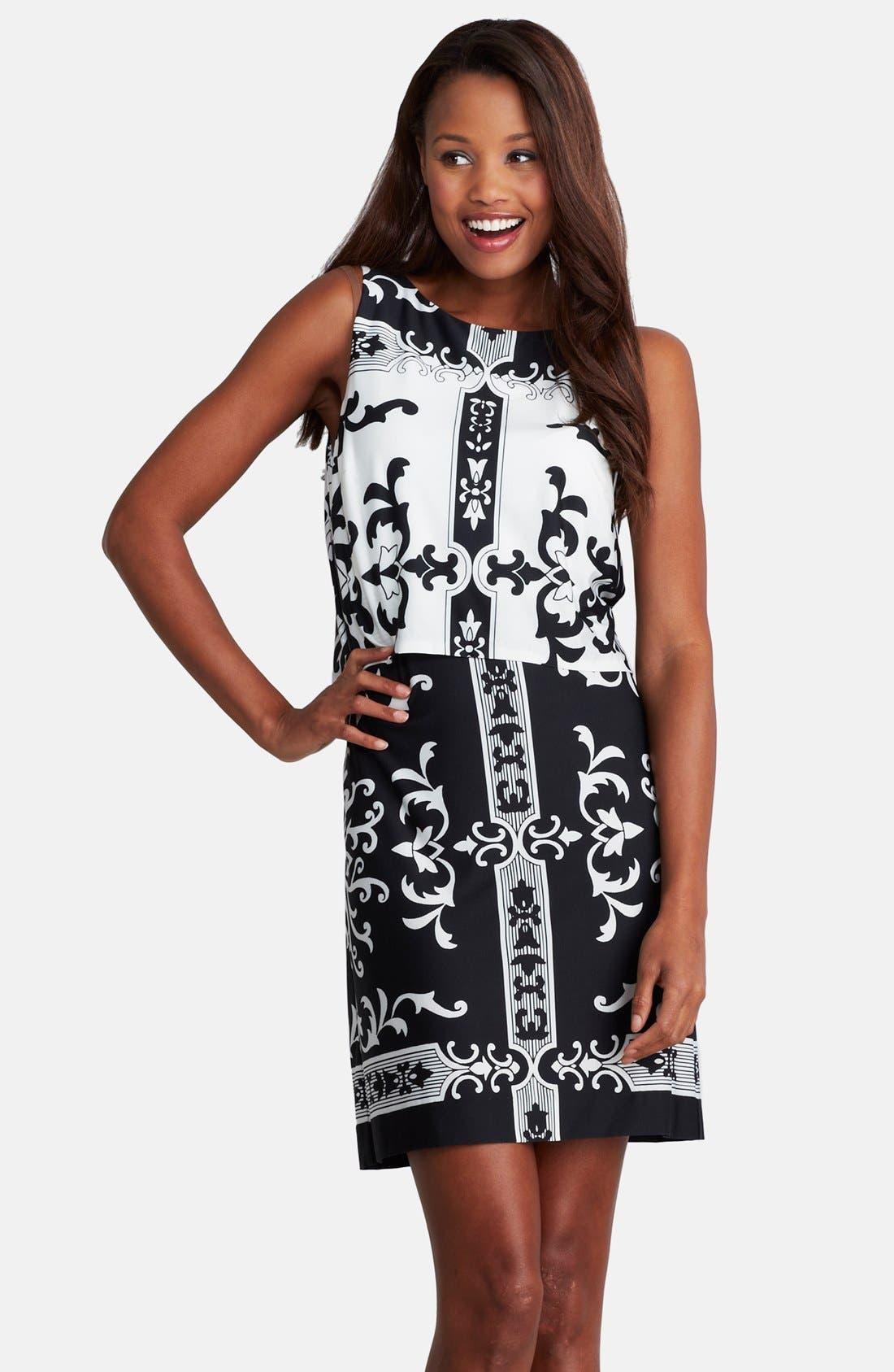 Alternate Image 1 Selected - Donna Morgan Print Jersey Shift Dress (Regular & Petite)