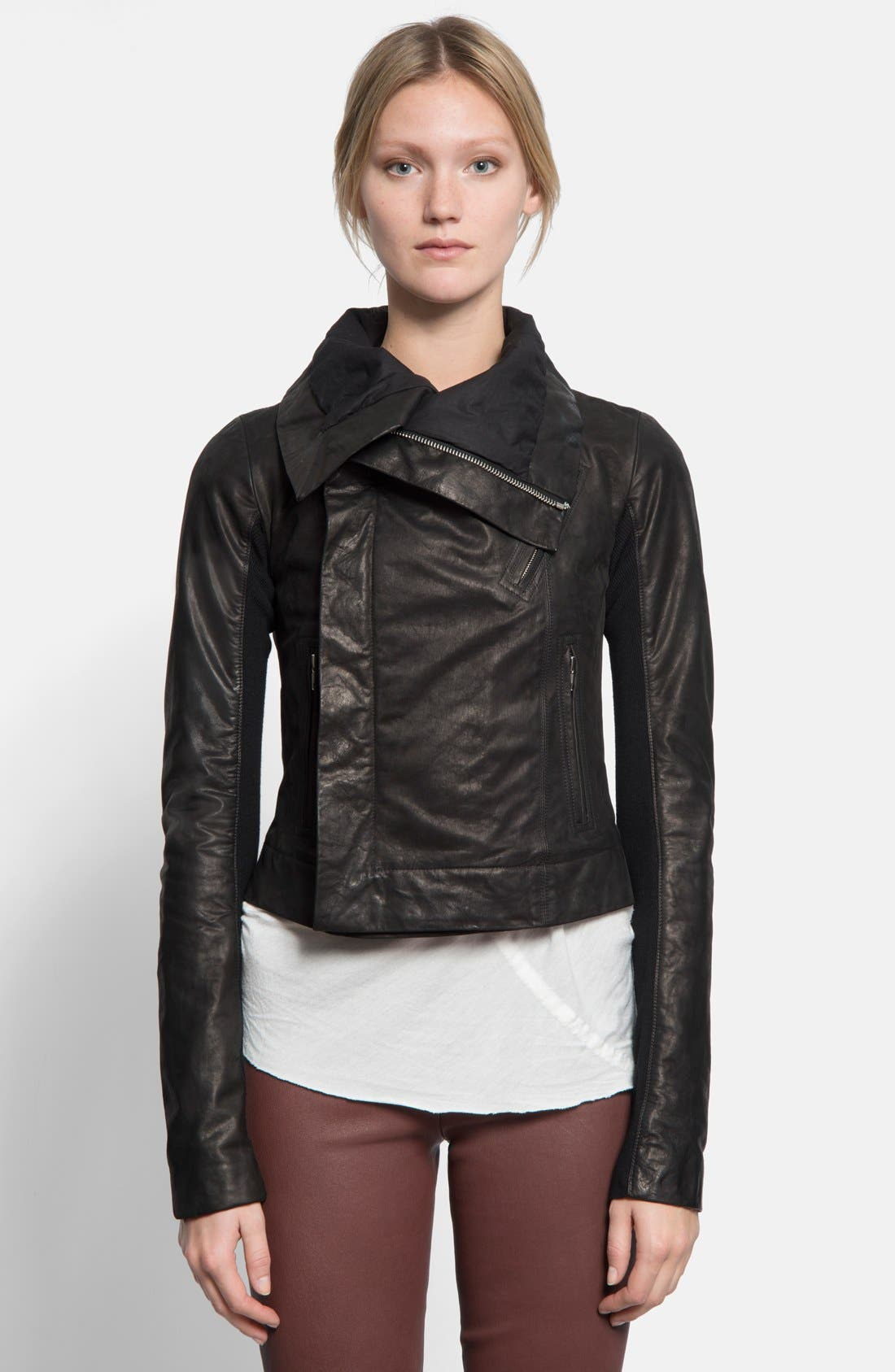 Rick Owens Classic Calfskin Leather Biker Jacket