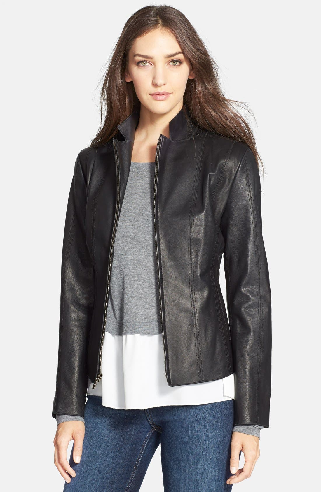 Alternate Image 1 Selected - Cole Haan Notch Collar Lambskin Leather Jacket (Regular & Petite)