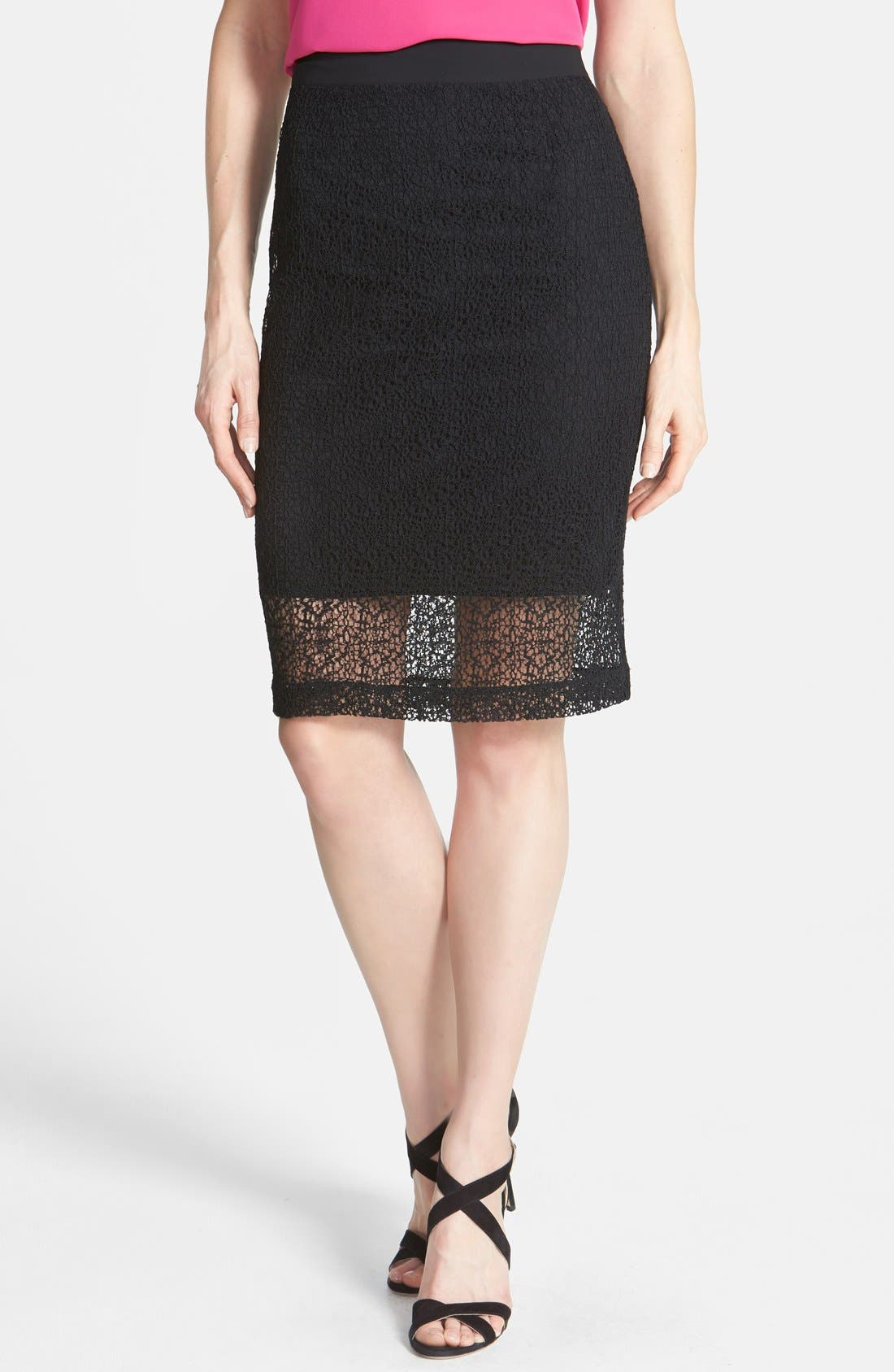 Alternate Image 1 Selected - Halogen® 'Avalon' Lace Pencil Skirt (Petite)