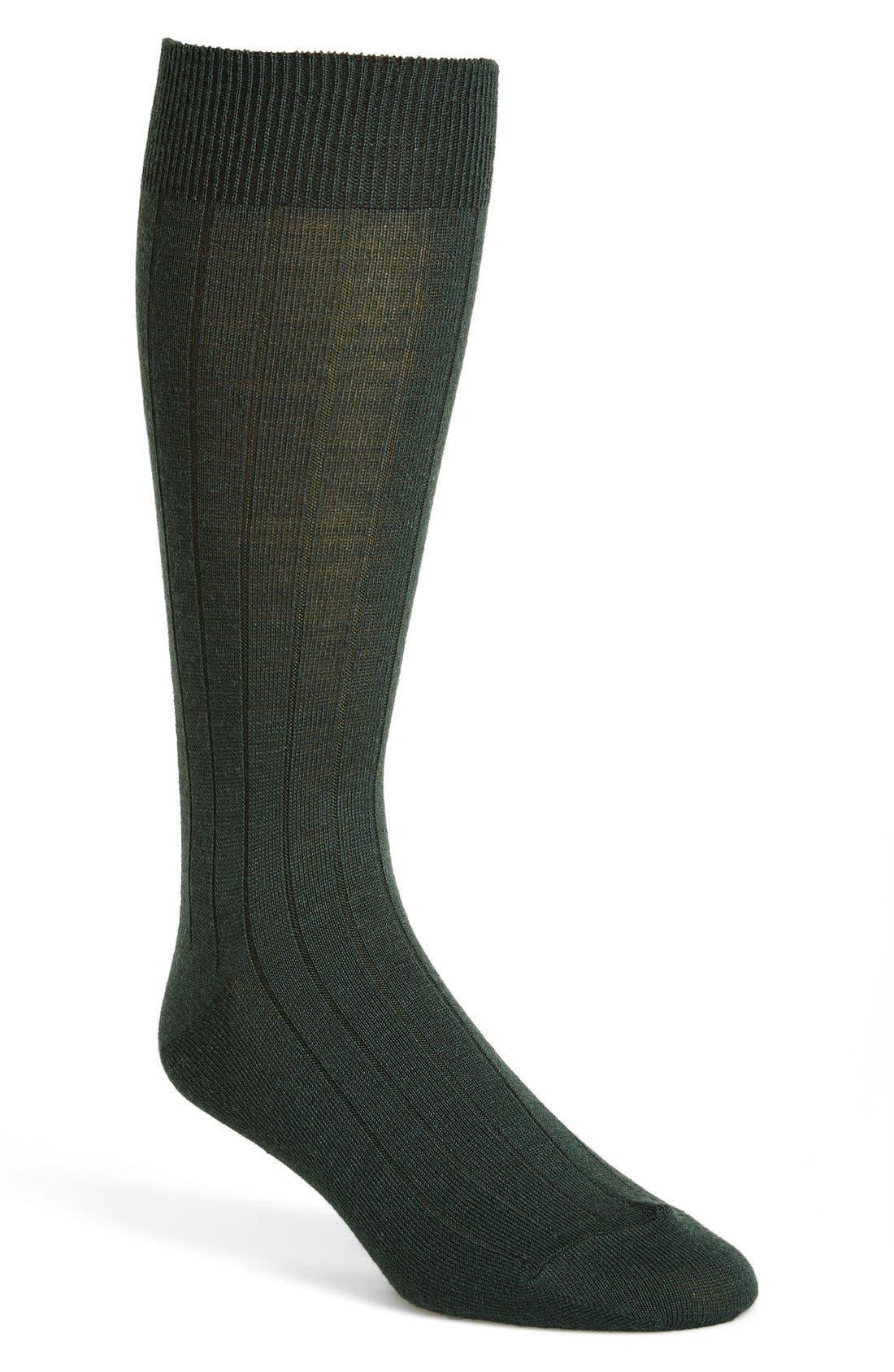 Alternate Image 1 Selected - Cole Haan Solid Wool Blend Rib Socks (Men)