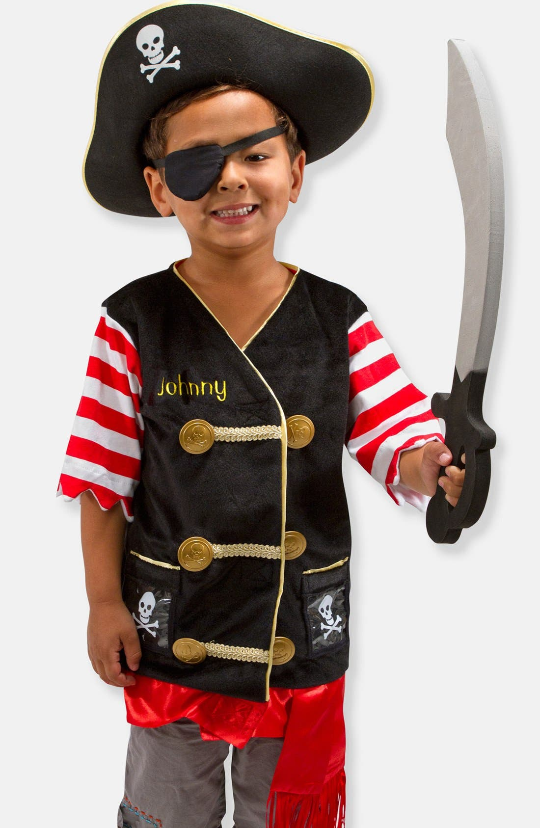 Personalized Pirate Costume,                             Main thumbnail 1, color,                             Black