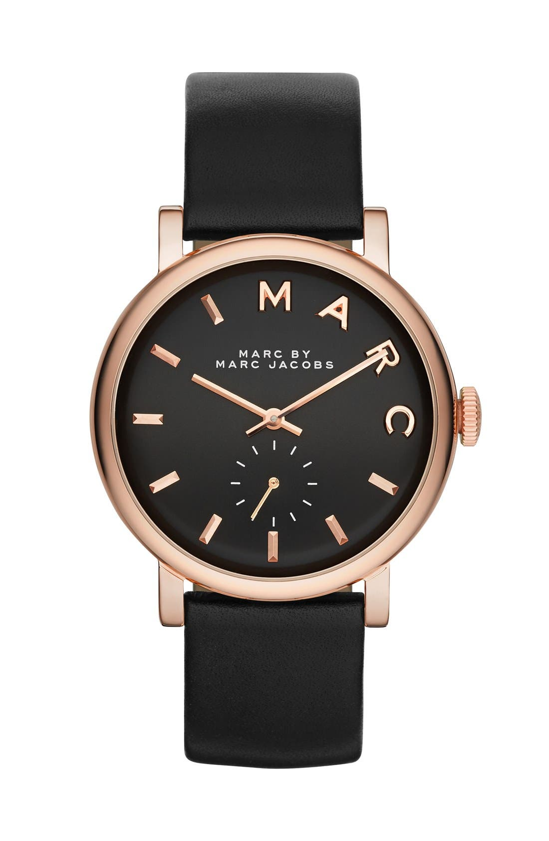Main Image - MARC JACOBS 'Baker' Leather Strap Watch, 37mm (Nordstrom Exclusive)