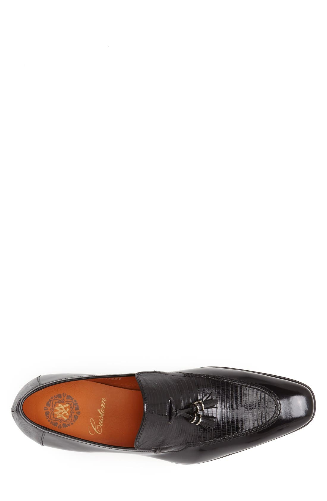 'Obrador' Lizard Leather Tassel Loafer,                             Alternate thumbnail 3, color,                             Black