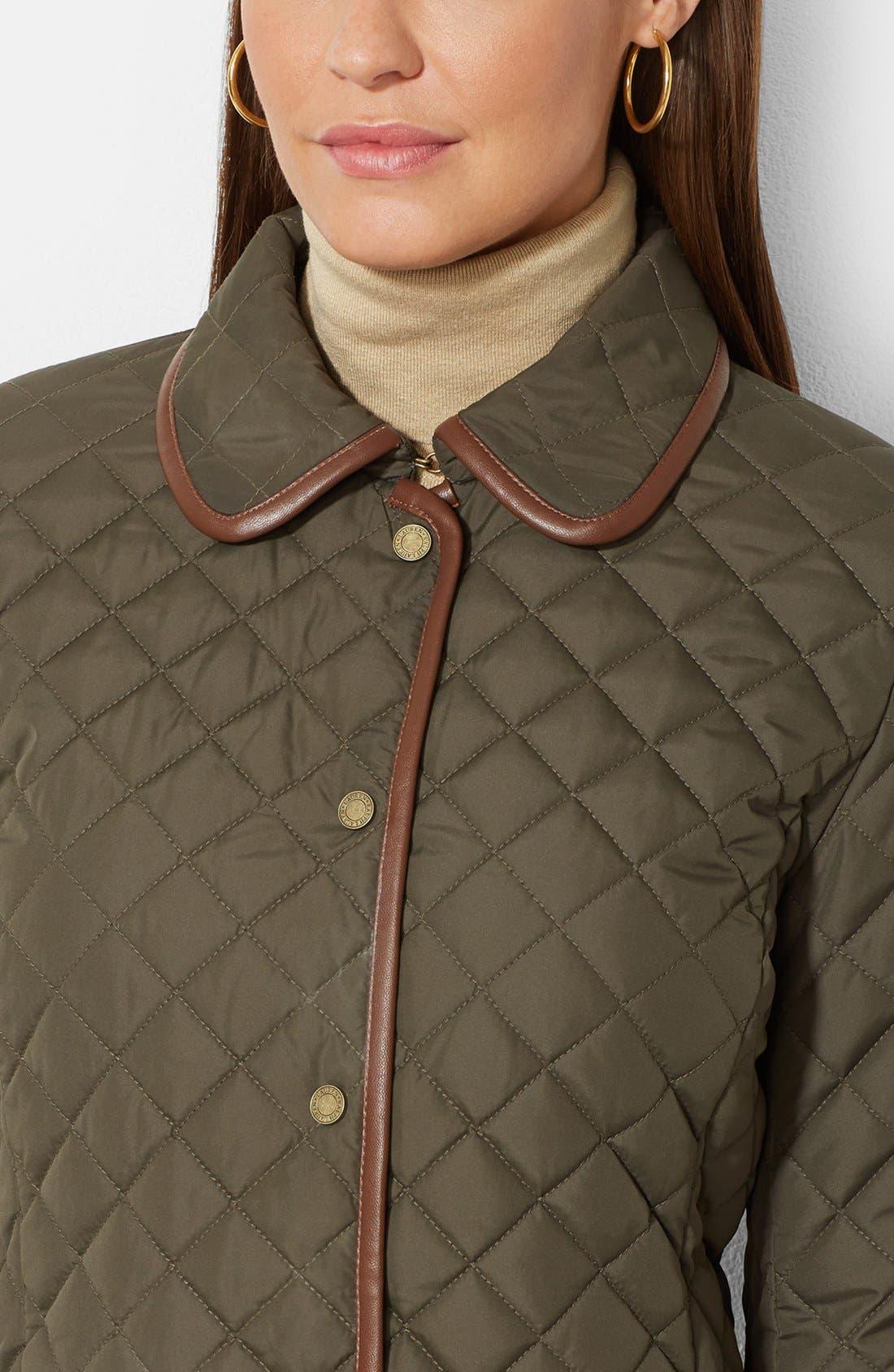 Alternate Image 3  - Lauren Ralph Lauren Faux Leather Trim Quilted Jacket