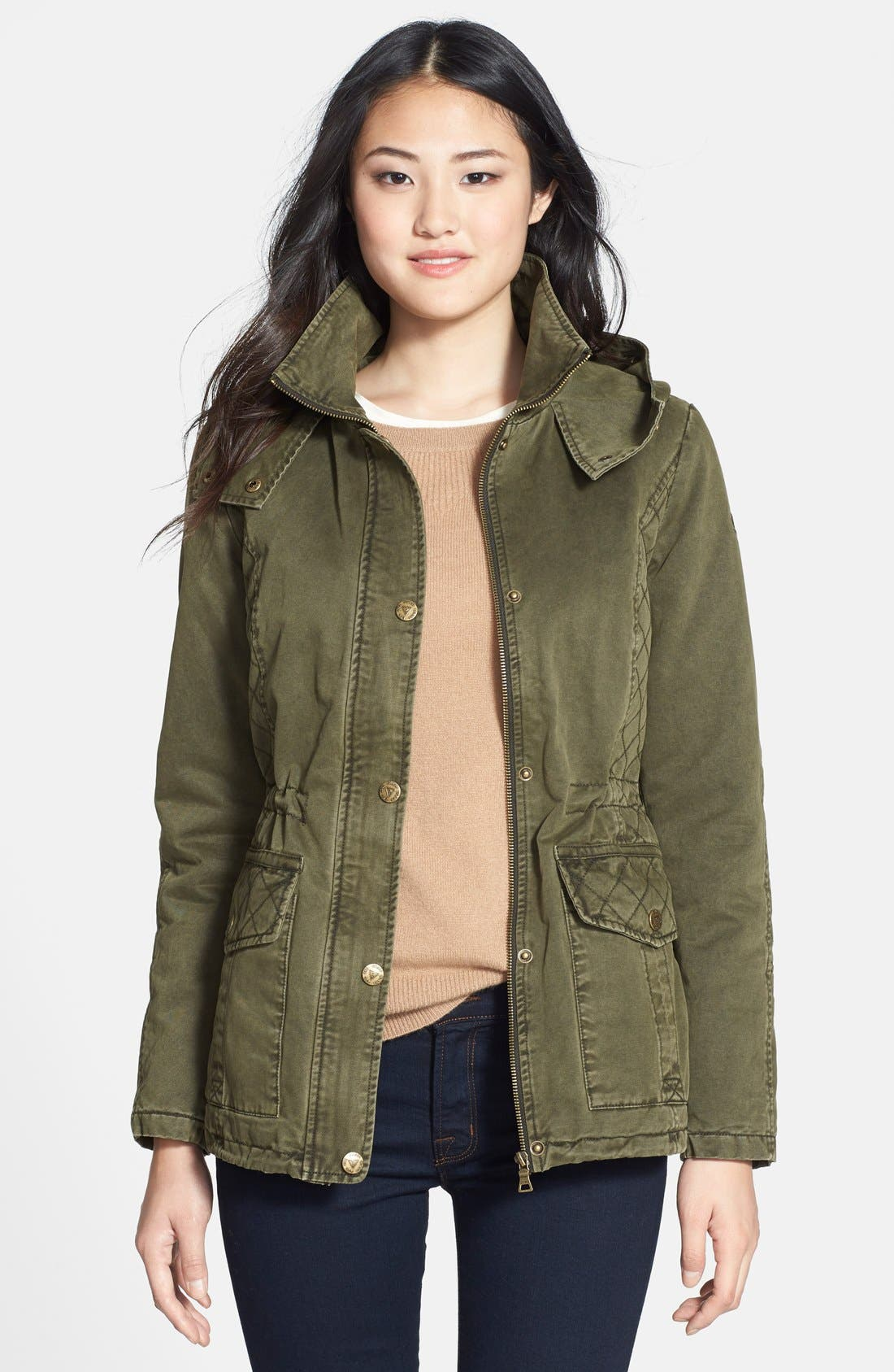 Alternate Image 4  - GUESS Faux Fur Trim Quilted Cotton Anorak (Online Only)