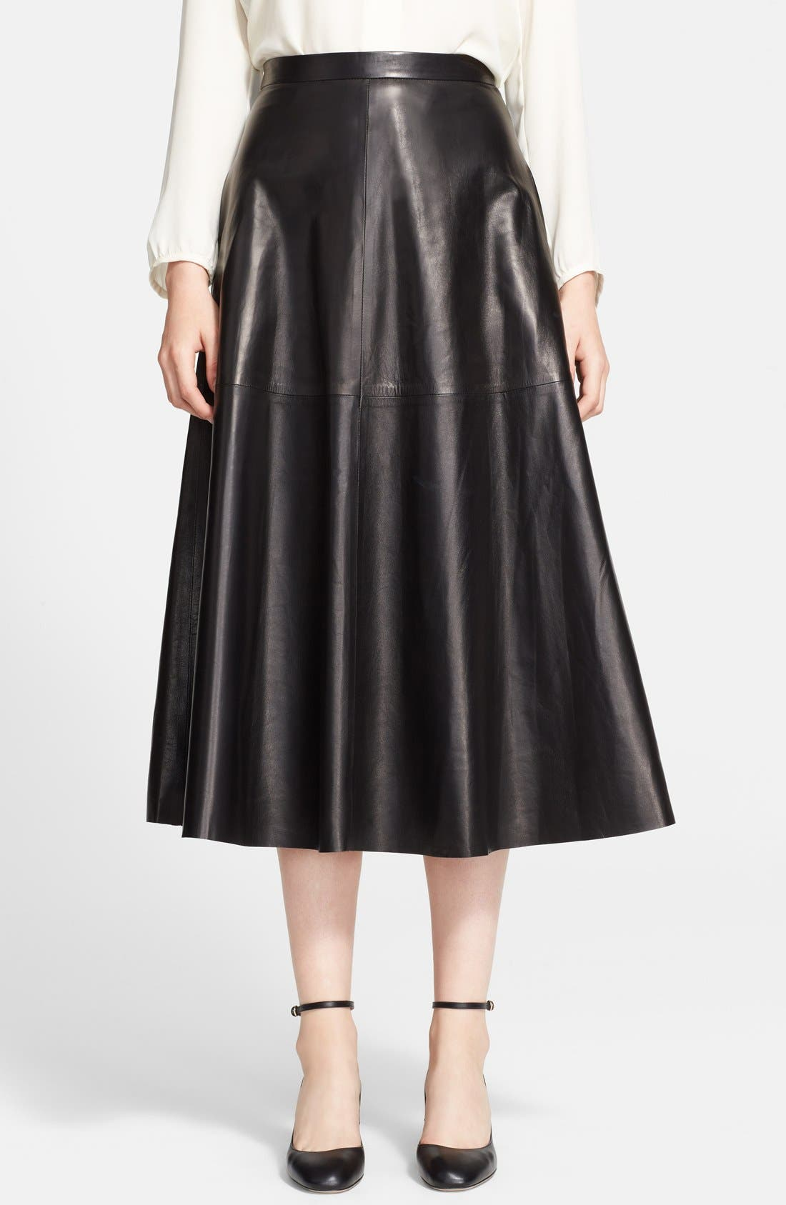 Lightweight Leather Midi Skirt,                             Main thumbnail 1, color,                             Black