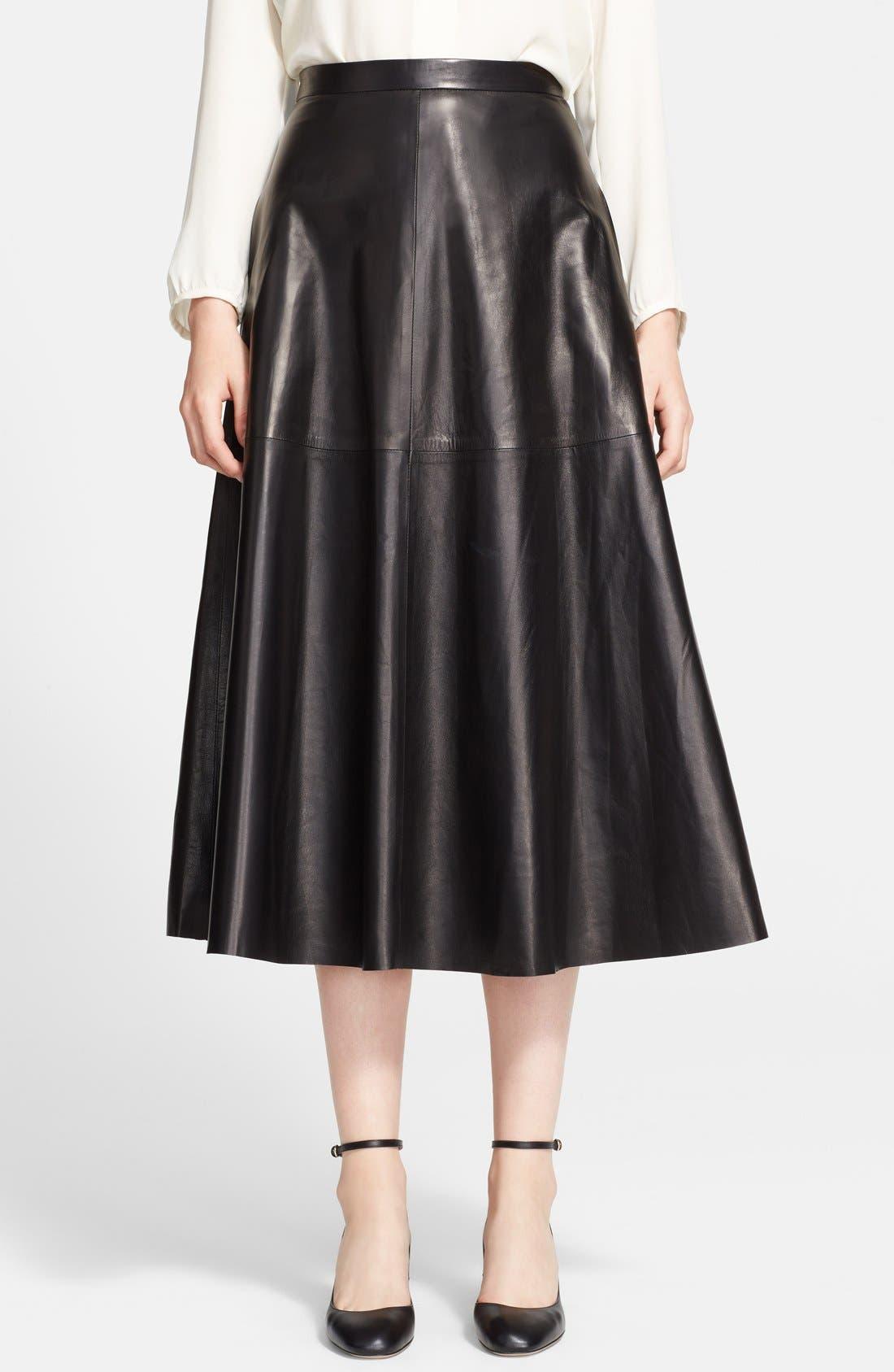 Lightweight Leather Midi Skirt,                         Main,                         color, Black